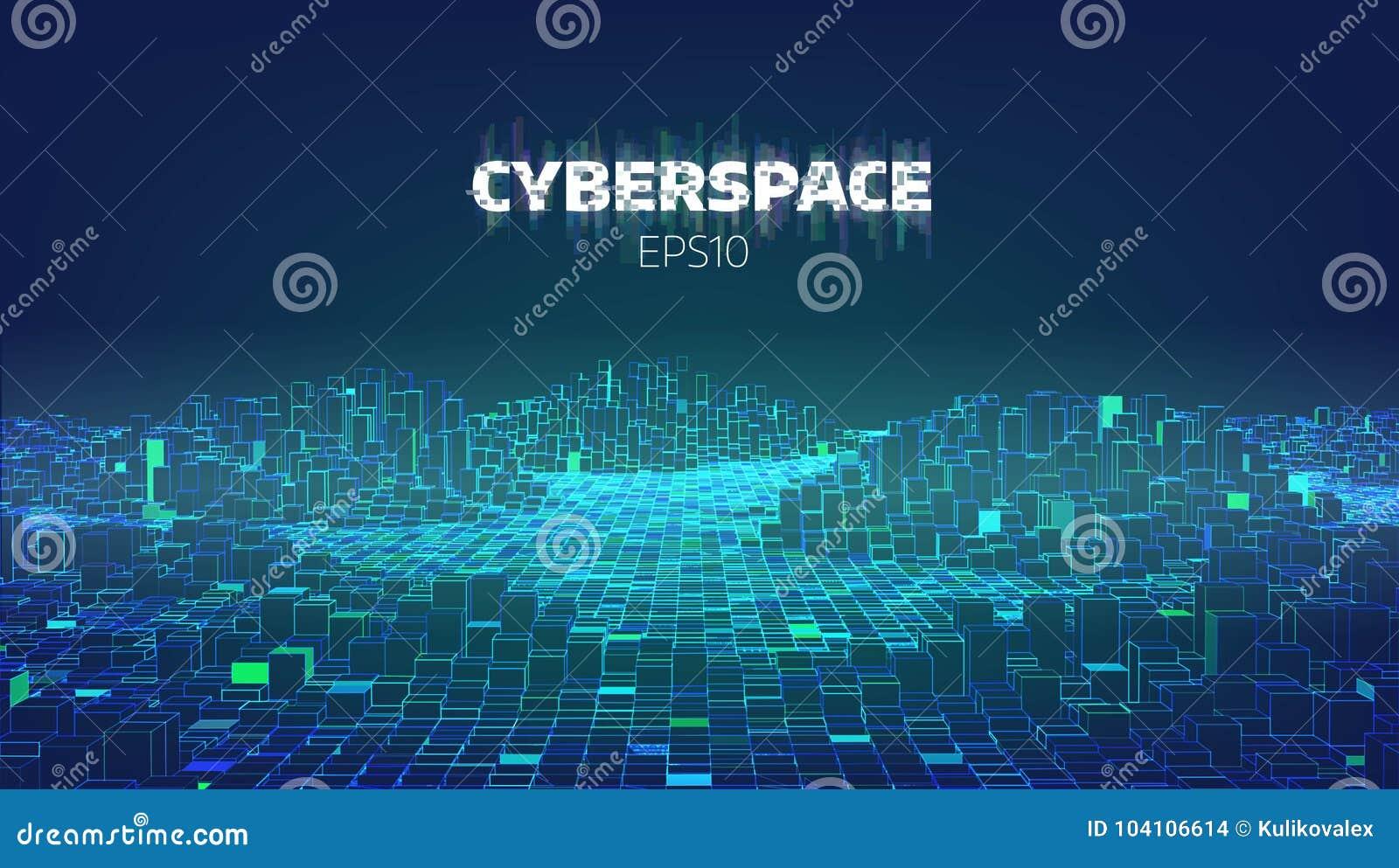 Ciudad del juego del ciberespacio Internet de cosas Fondo futurista de la tecnología