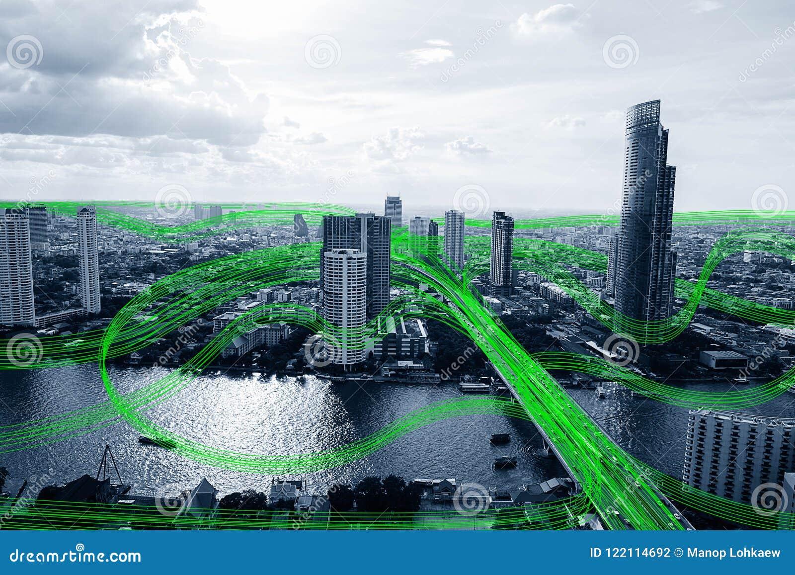 Ciudad elegante blanco y negro con la red de flujo de comunicación de datos