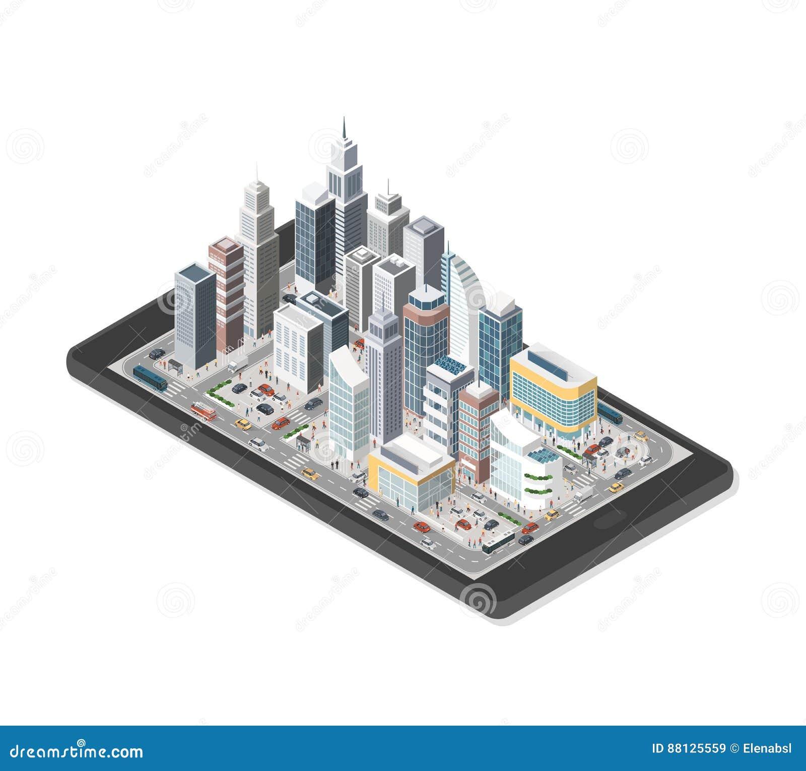 Ciudad elegante en un smartphone