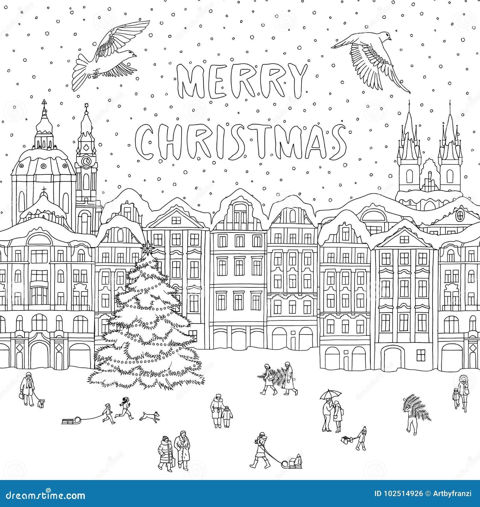 Ciudad En Invierno En El Tiempo De La Navidad Ilustración