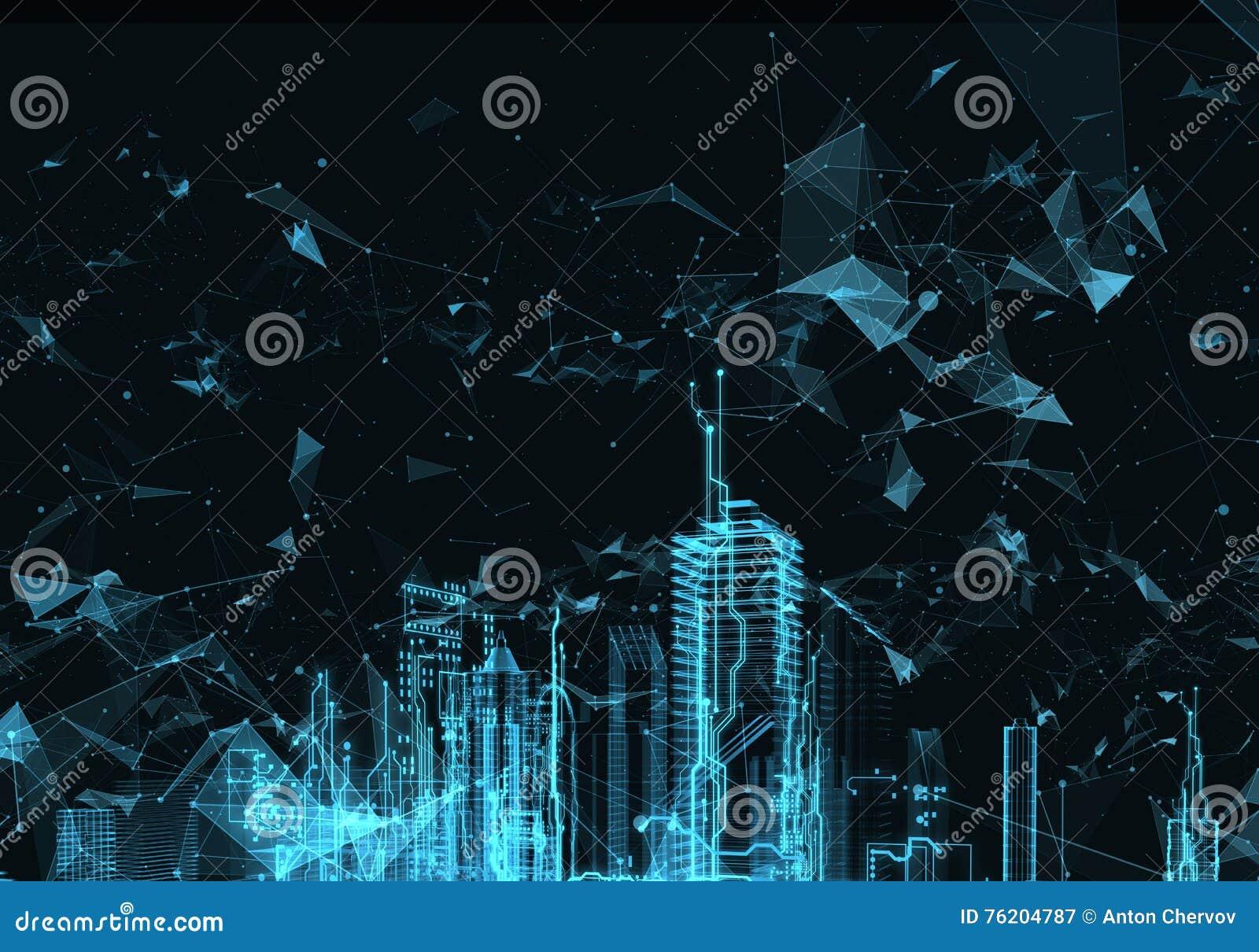 Ciudad futurista abstracta