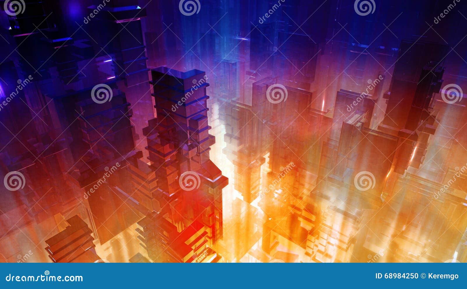 Ciudad futurista de la ciencia ficción