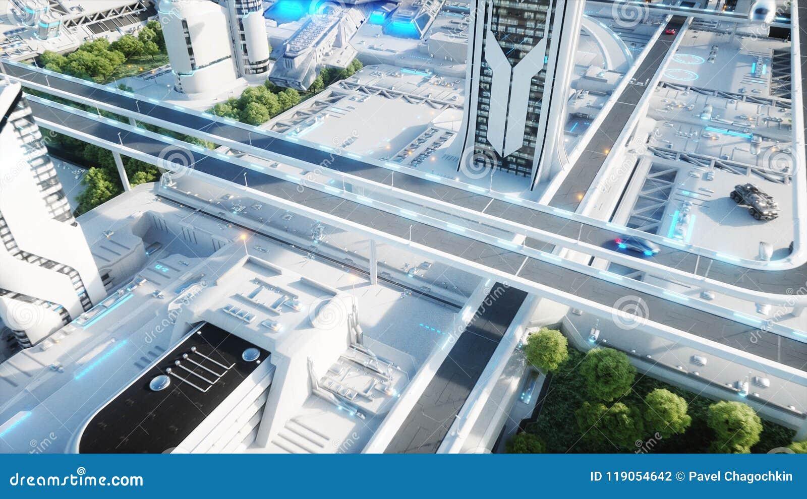 Ciudad futurista, ciudad El concepto del futuro Silueta del hombre de negocios Cowering representación 3d