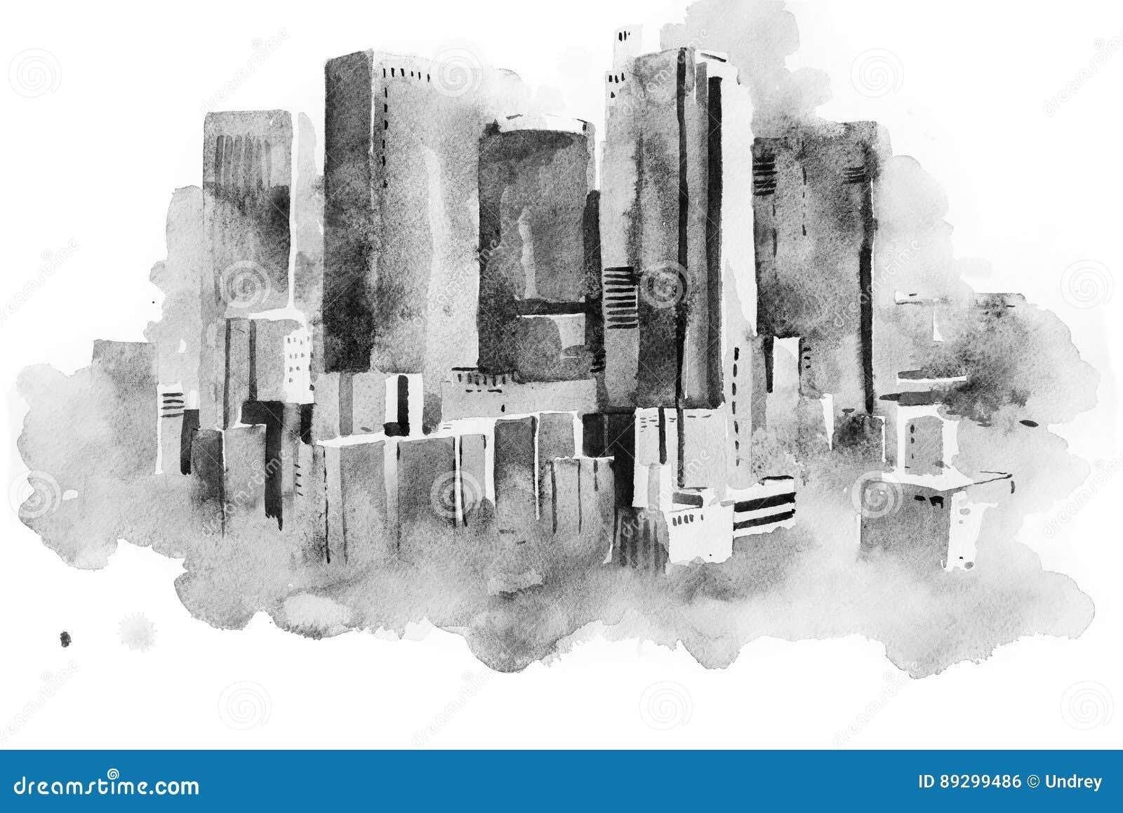 Ciudad grande céntrica, pintura del paisaje urbano del dibujo de la acuarela de la acuarela