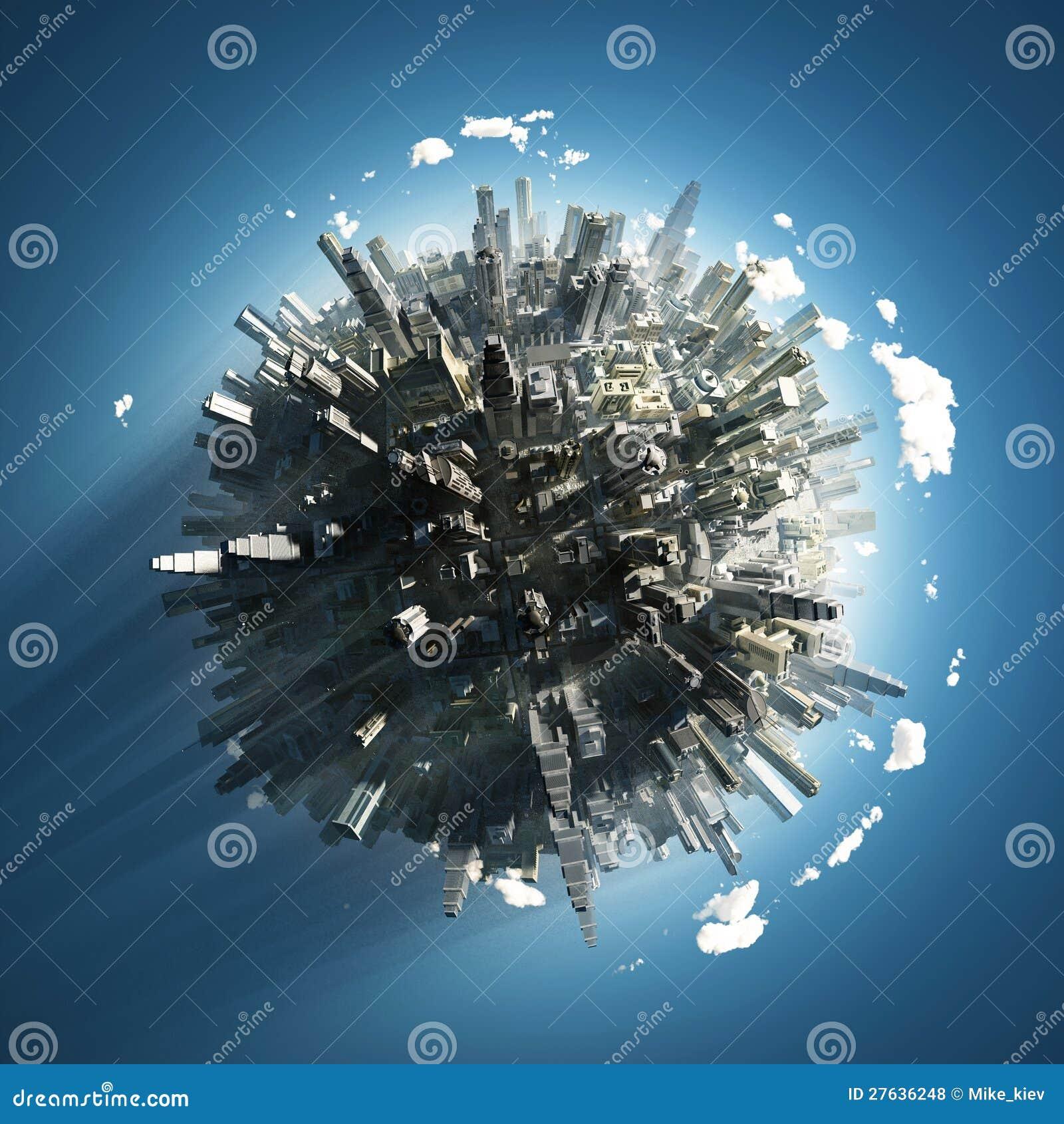 Ciudad grande en el pequeño planeta