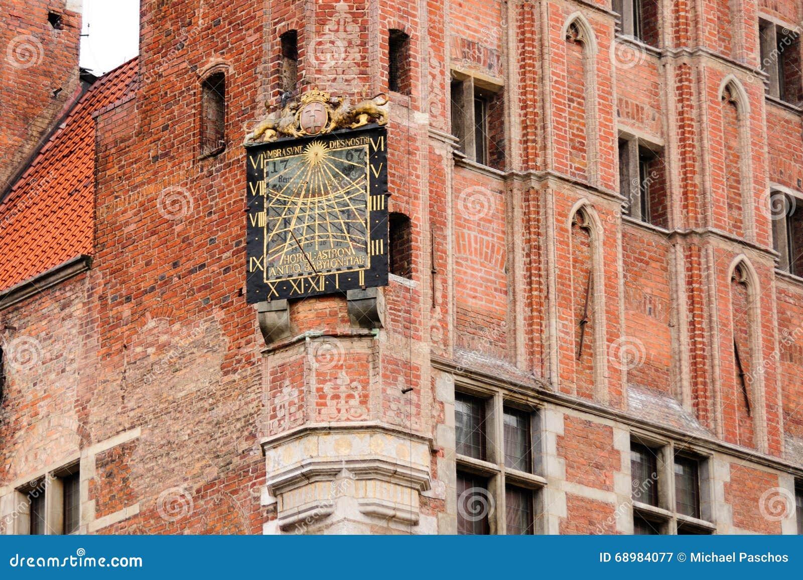 Ciudad Hall Sundial de Gdansk