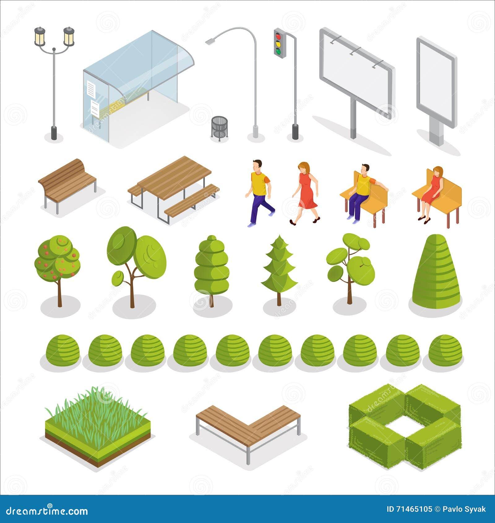 Ciudad isométrica Gente isométrica Elementos urbanos