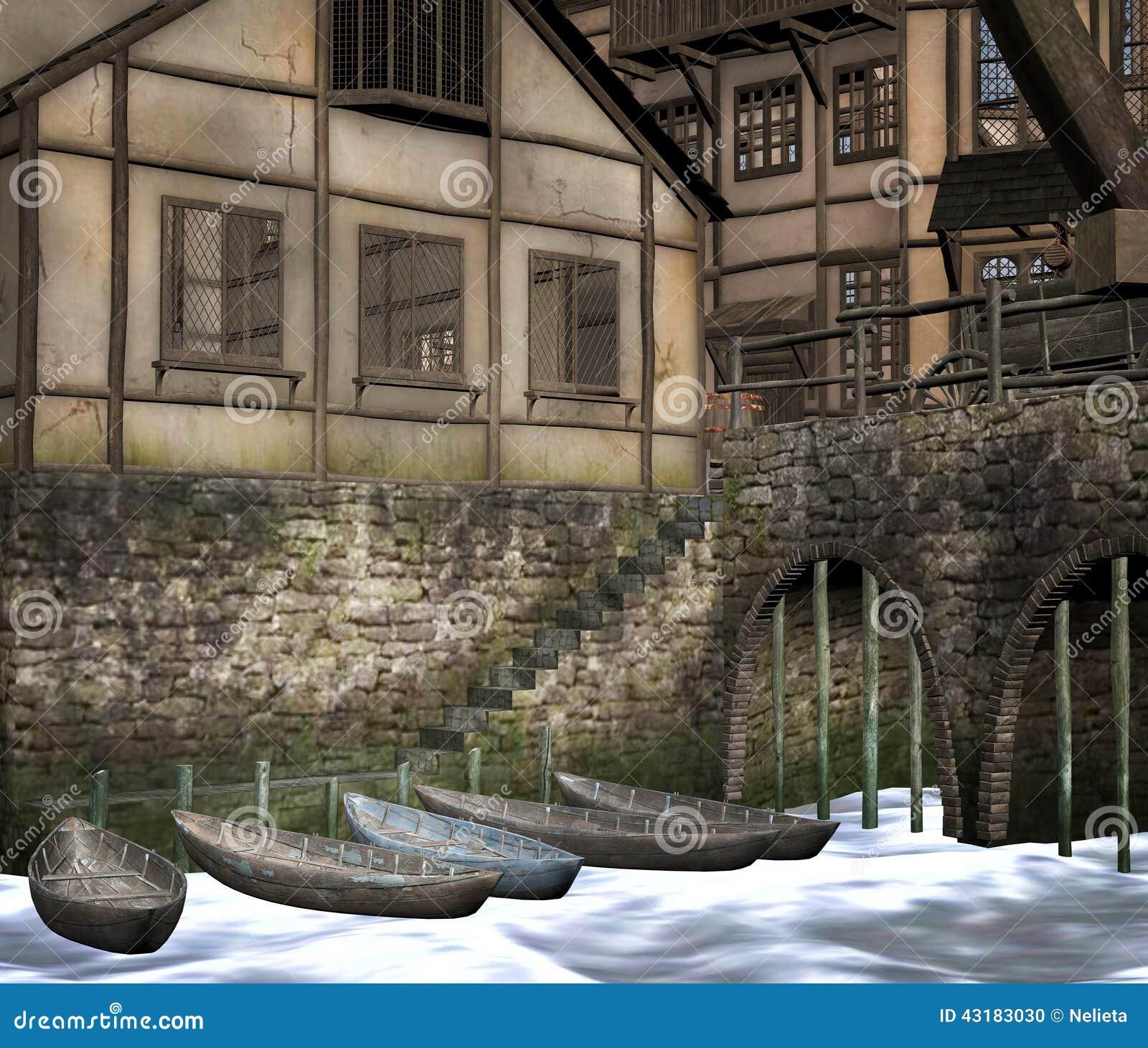Ciudad medieval con los barcos