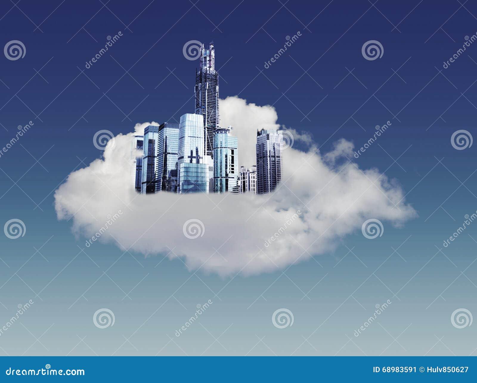 Ciudad moderna en nubes