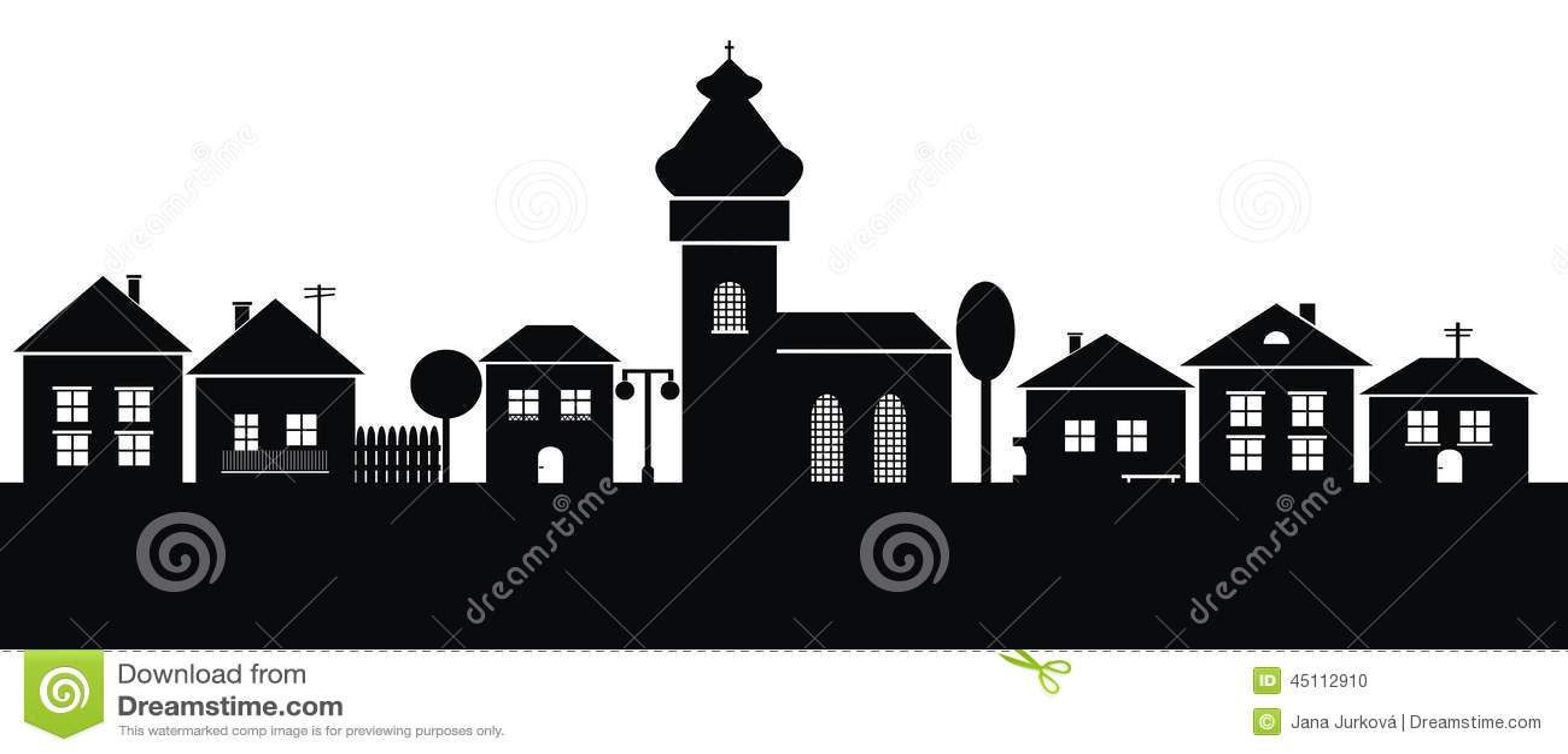 Ciudad, silueta negra