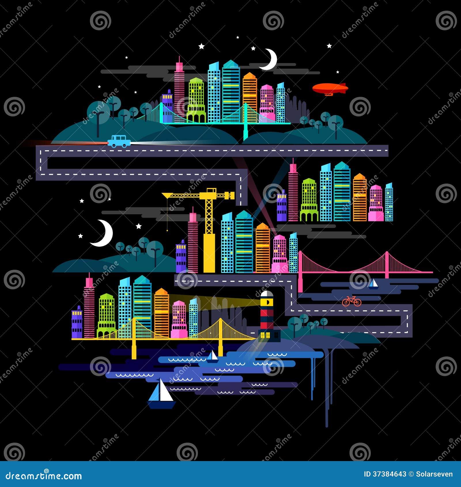 Ciudad urbana en la noche