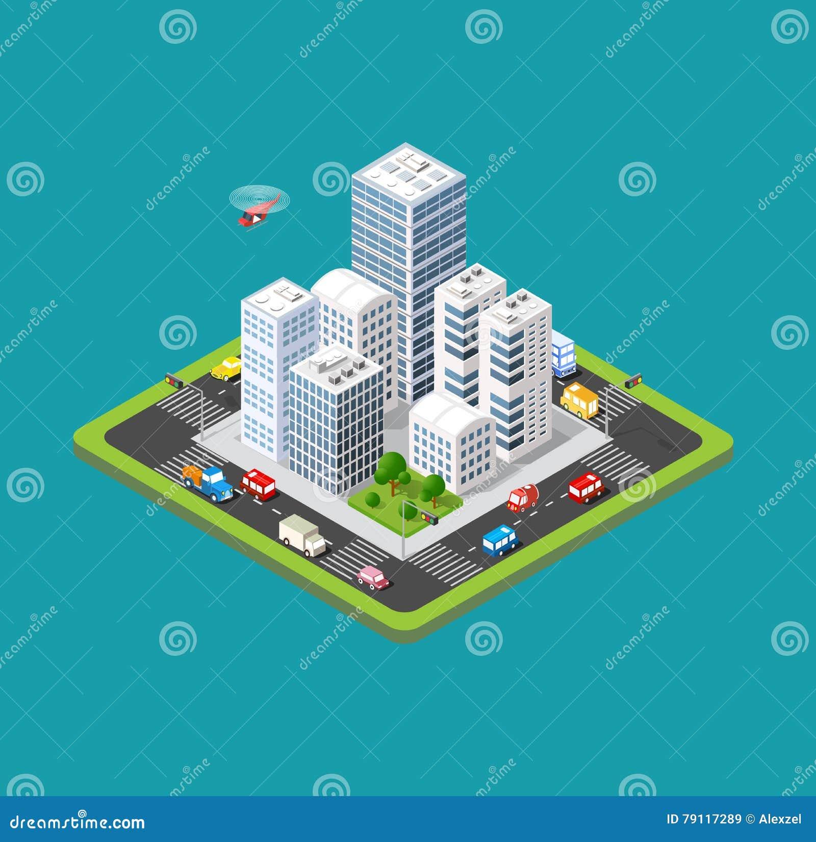 Ciudad urbana isométrica