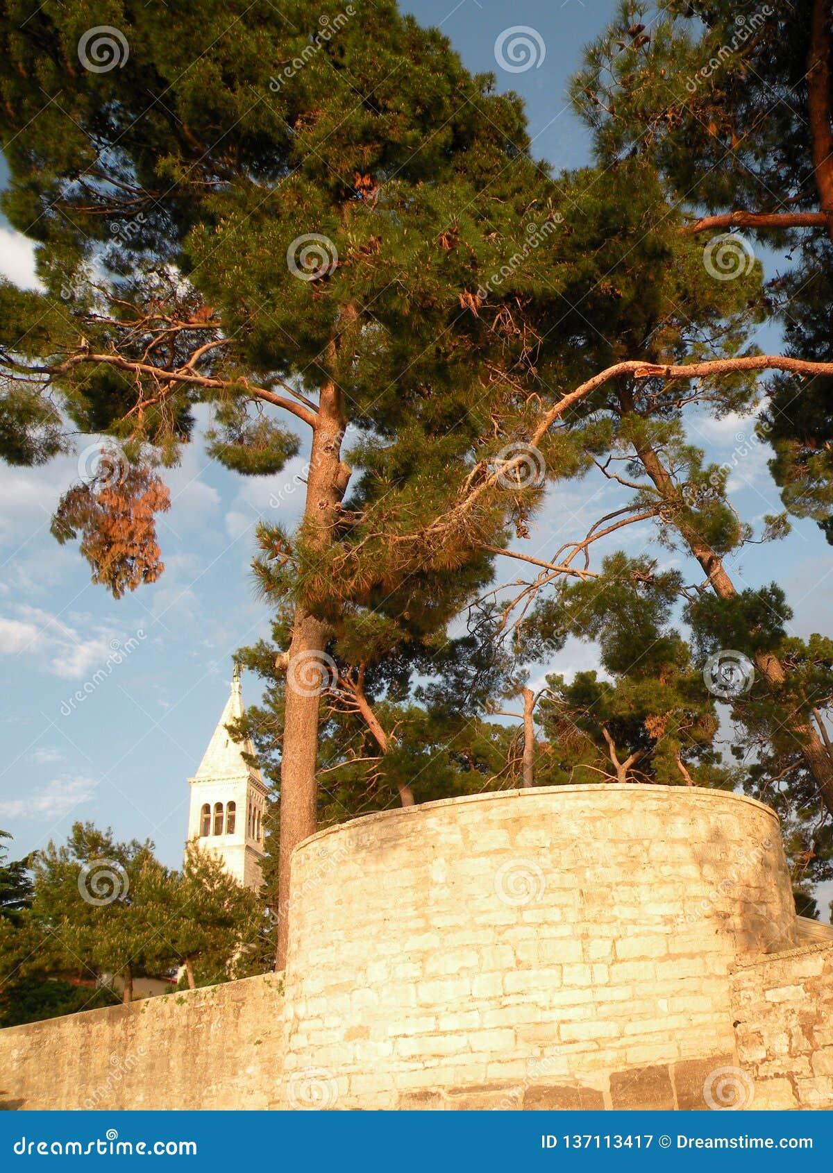 Ciudad vieja de Istrian de Novigrad, Croacia Una iglesia hermosa con un alto campanario elegante, callejones de piedra y una casa