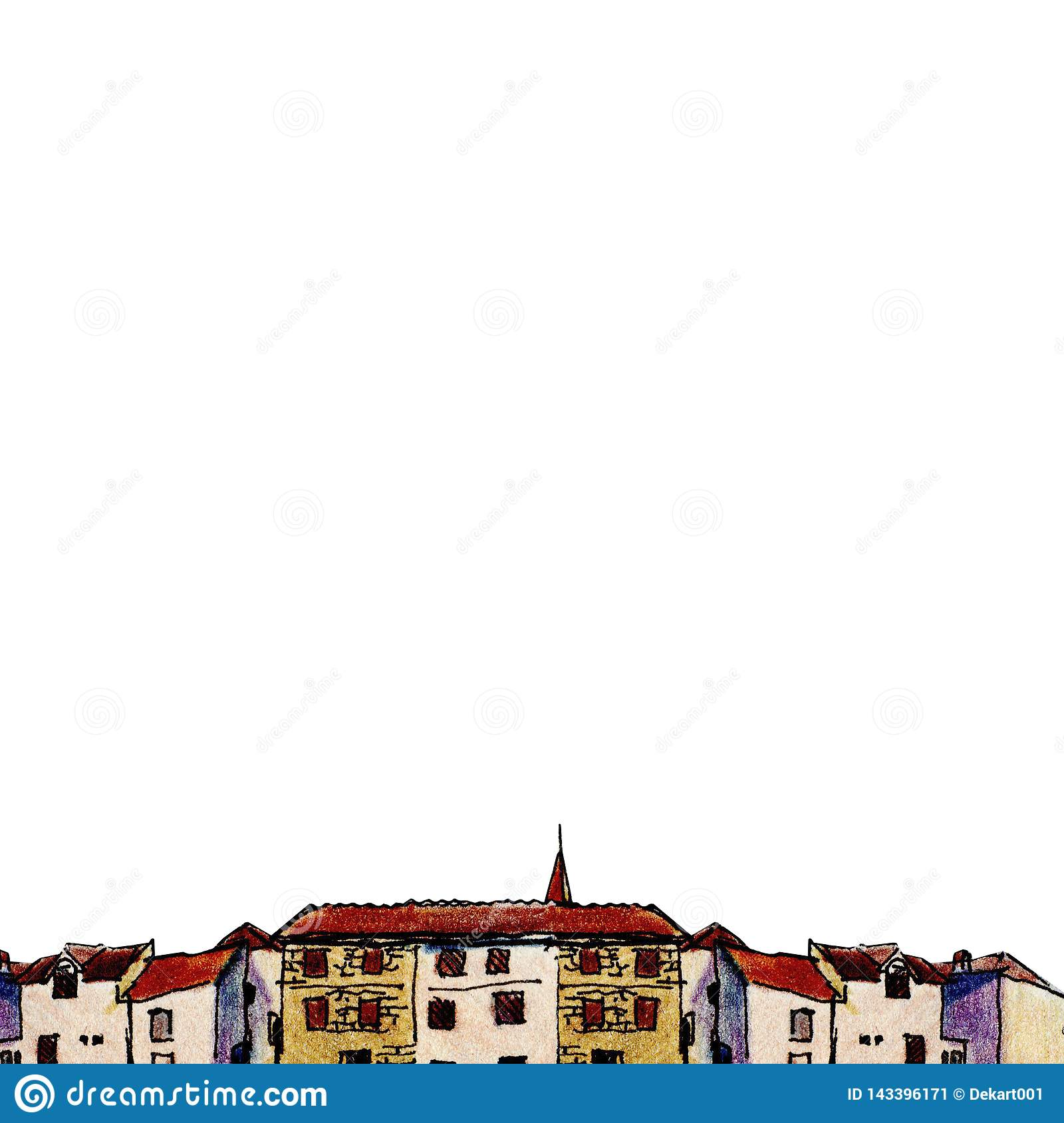 Ciudad vieja en estilo del bosquejo y aislada en el fondo blanco, lápiz colorido