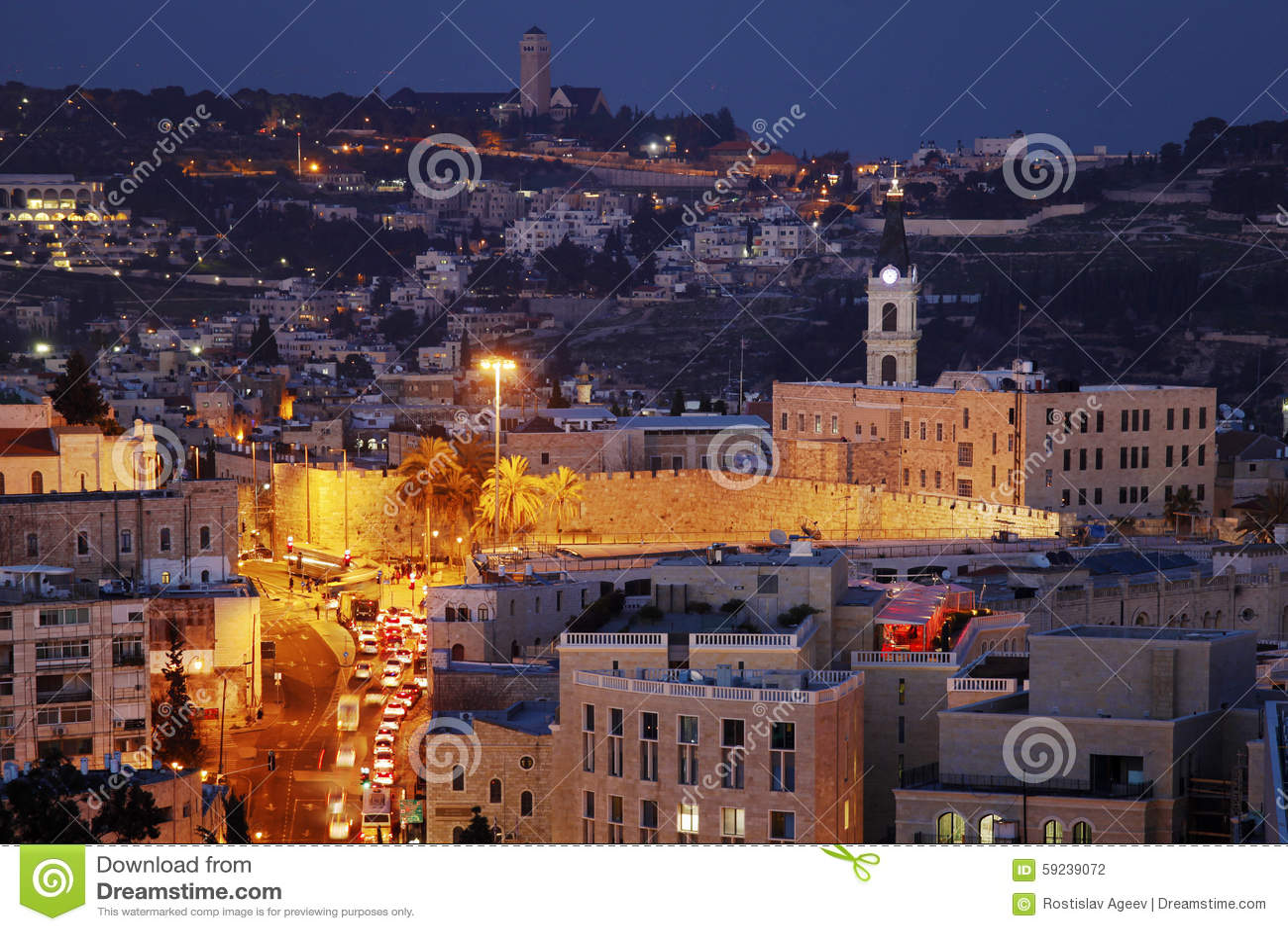 Download Ciudad Y El Monte De Los Olivos Viejos De Jerusalén En La Noche Foto de archivo - Imagen de señal, montaje: 59239072