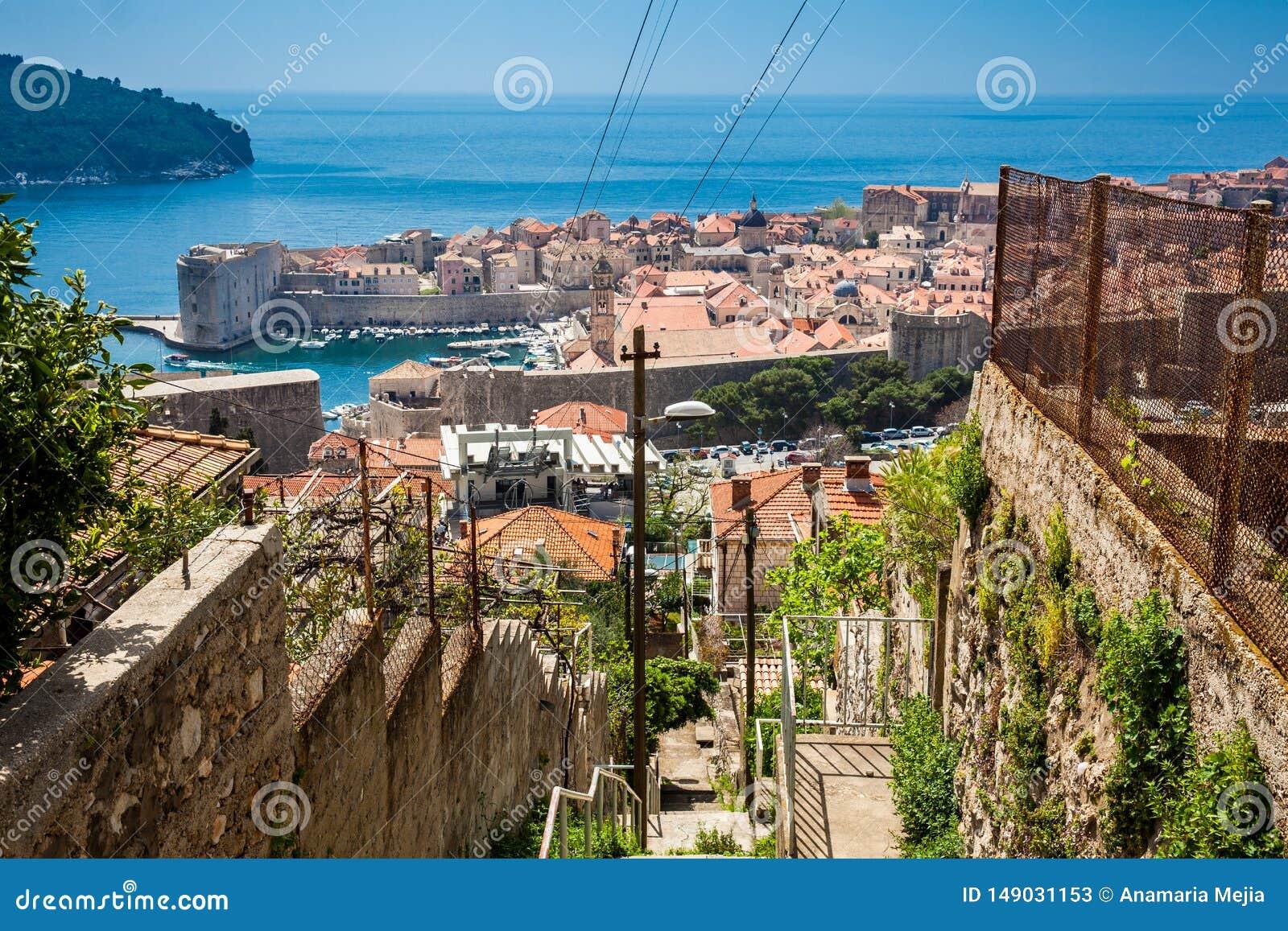 Ciudad y telef?rico de Dubrovnik tomados del soporte Srd