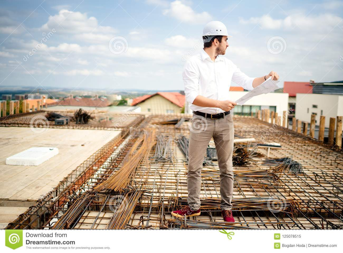 civil engineer working on construction site. Architect and construction industry details
