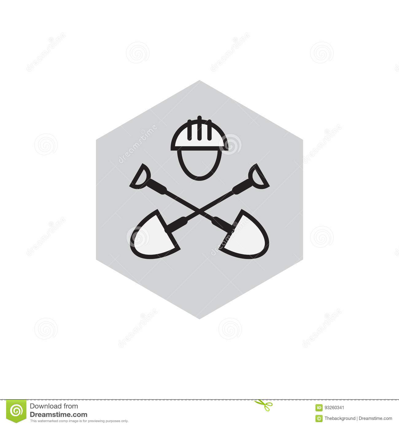Civil Engineering Emblem  Digger Icon  Label With Shovels And Ha