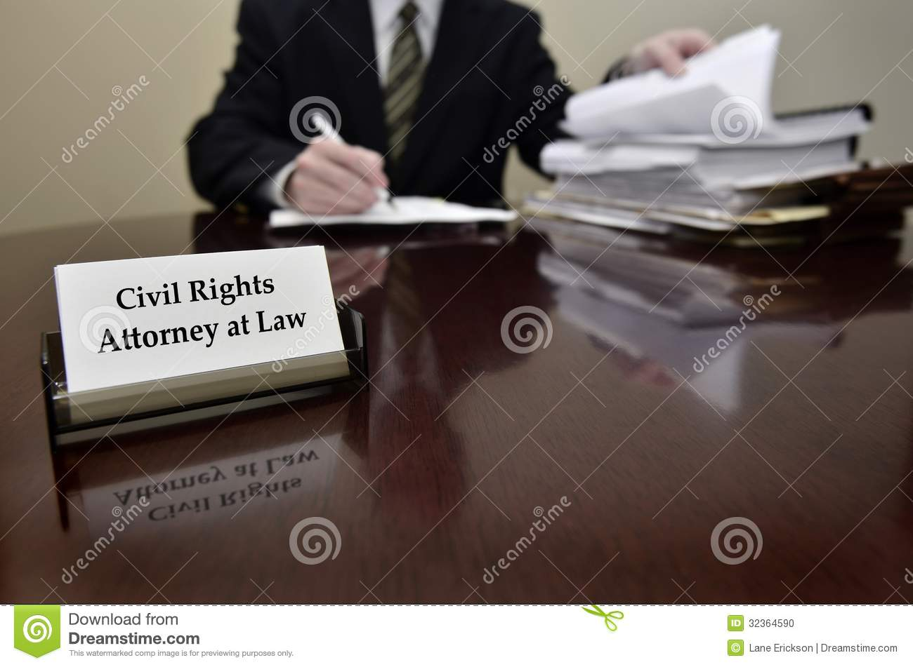 Civil Rights Attorney At Desk With Business Card Stock Photo ...
