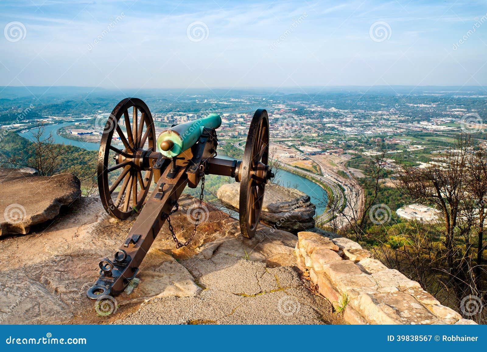 Civil war era cannon overlooking Chattanooga, TN