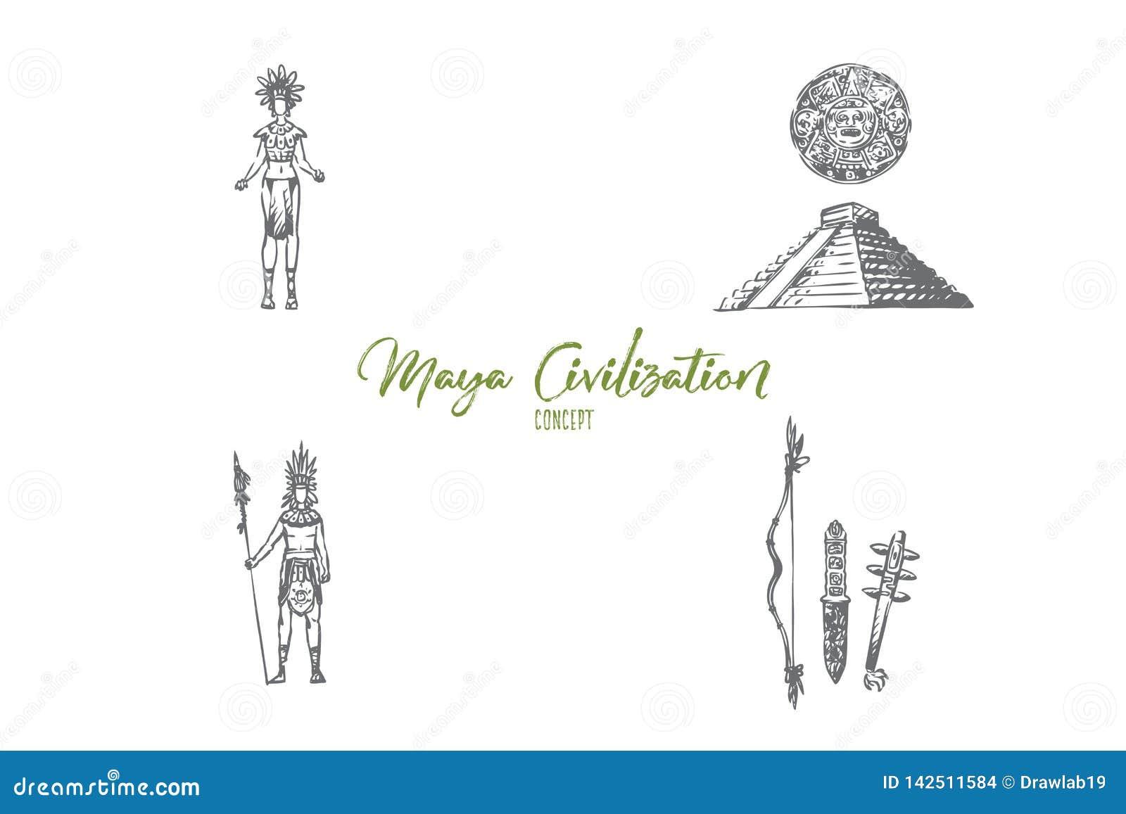 Civilização do Maya - pessoa do Maya, ferramentas e grupo do conceito do vetor da pirâmide