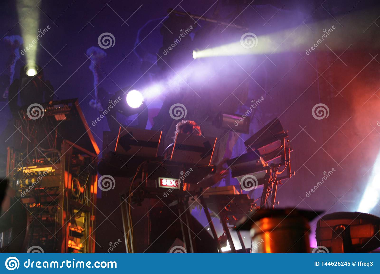 Liam Howlett sound producer musician on stage, the Prodigy, concert in Russia 2005
