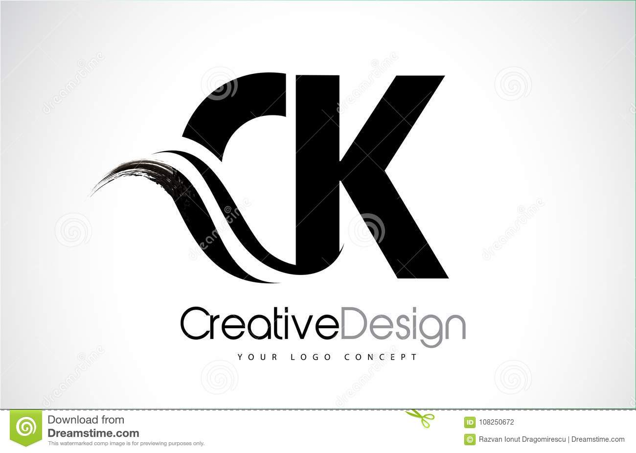 Download CK C K Creative Brush Black Letters Design With Swoosh Stock Vector