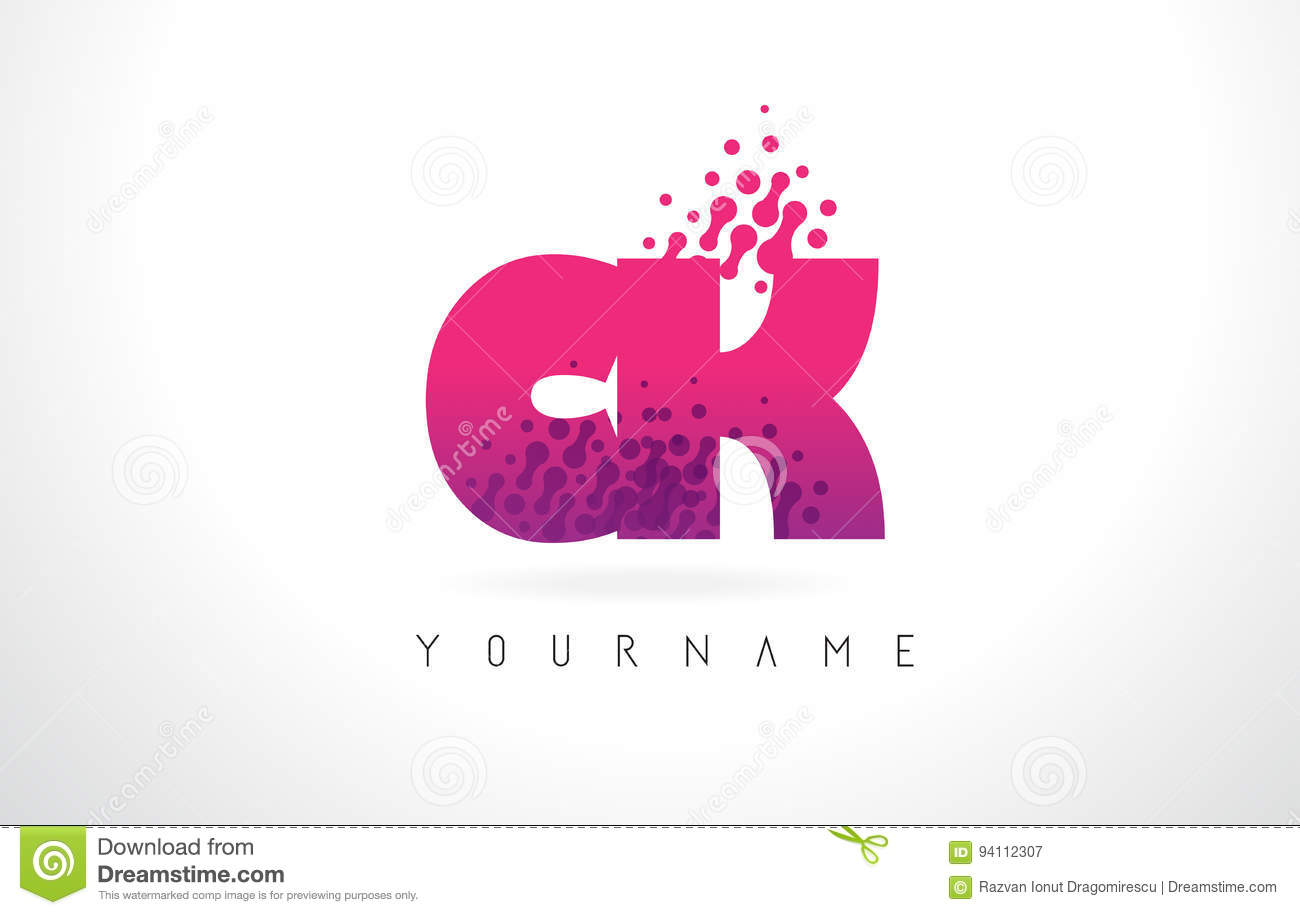 CK C K Letter Logo With Pink Purple Color And Particles Dots