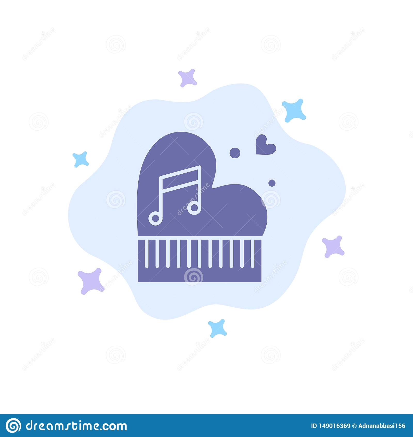 Clássico, amor, união, paixão, piano, Valentim, ícone azul do casamento no fundo abstrato da nuvem
