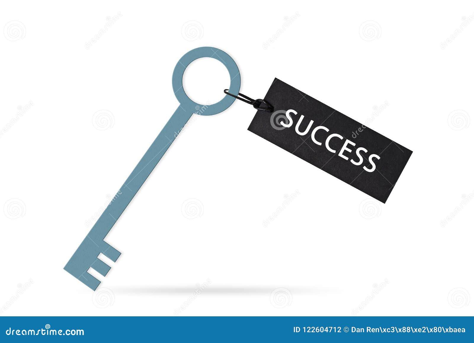 Clé au concept de succès avec le label ou l étiquette d isolement sur le fond blanc