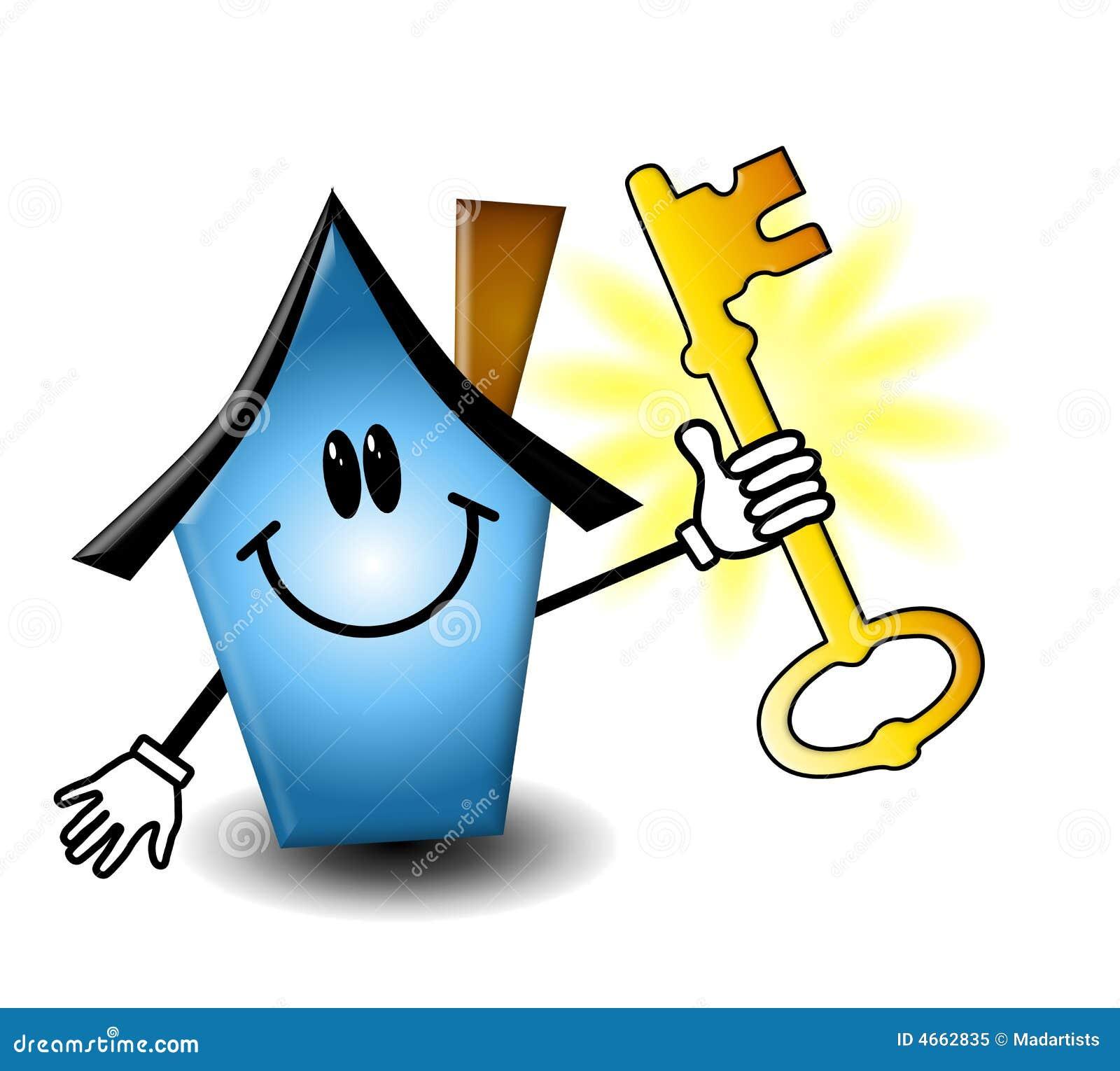 Une illustration comportant une maison bleue de dessin animé retenant une clé dor pour représenter les immeubles et le propriétaire de logement