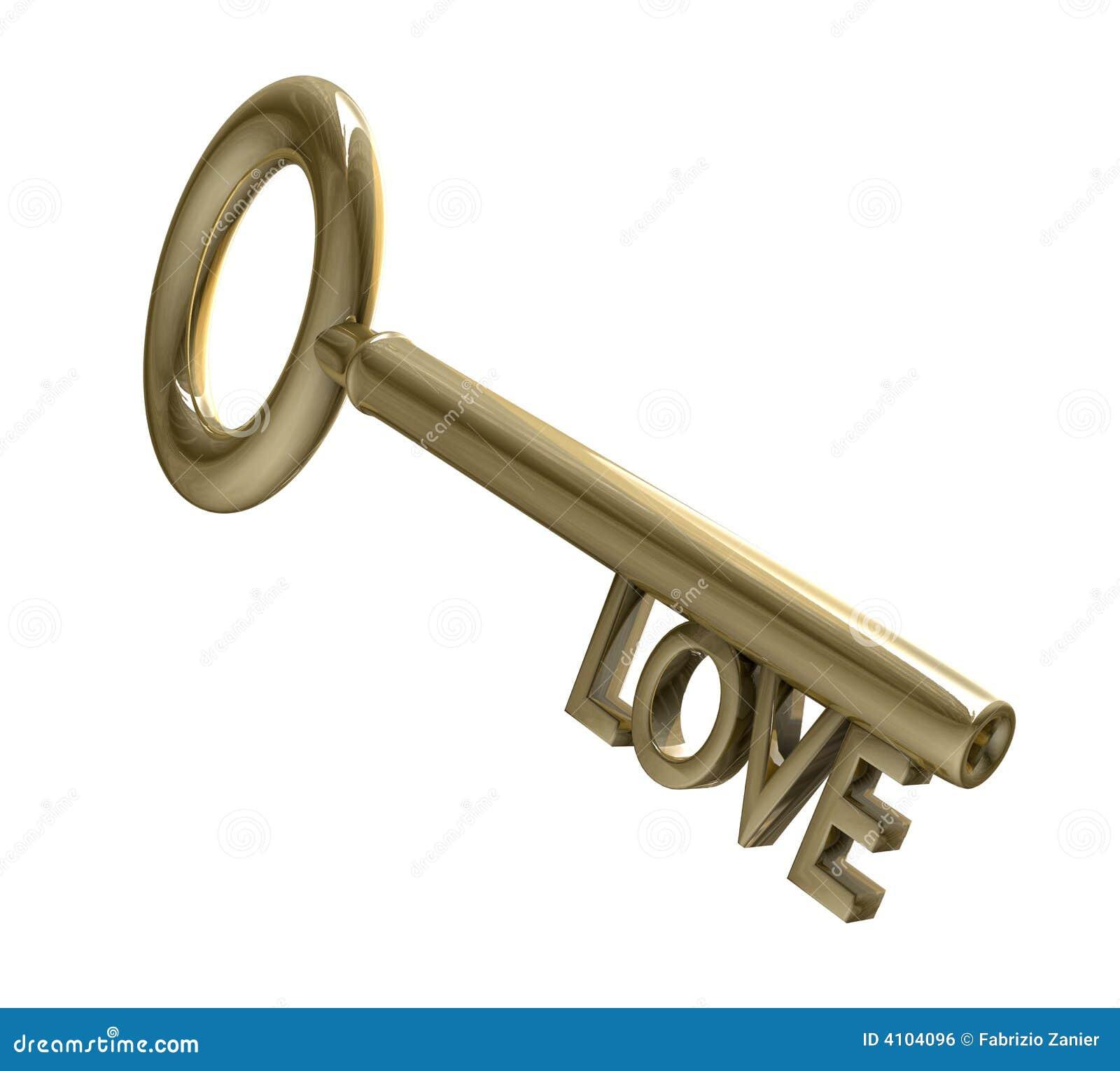 Clé en or avec le texte d amour (3d)
