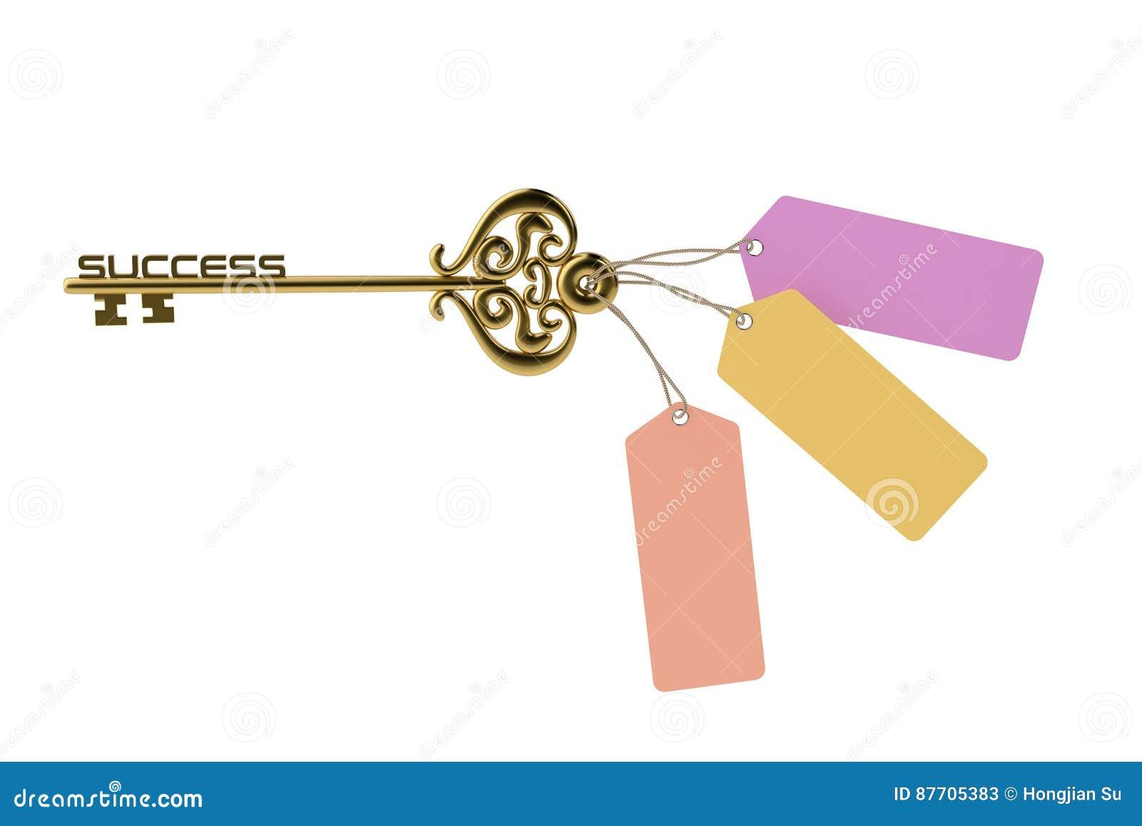 Clé réussie d or et étiquette 3 illustration 3D