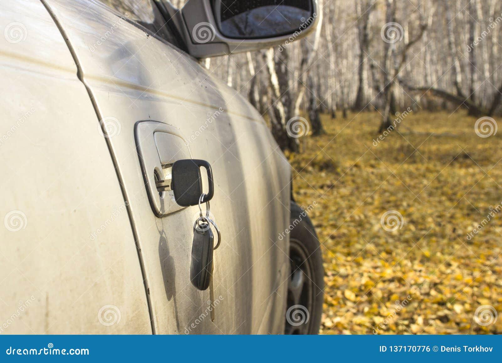Clés oubliées de voiture dans la porte, un fond d une forêt trouble d automne avec un effet de bokeh