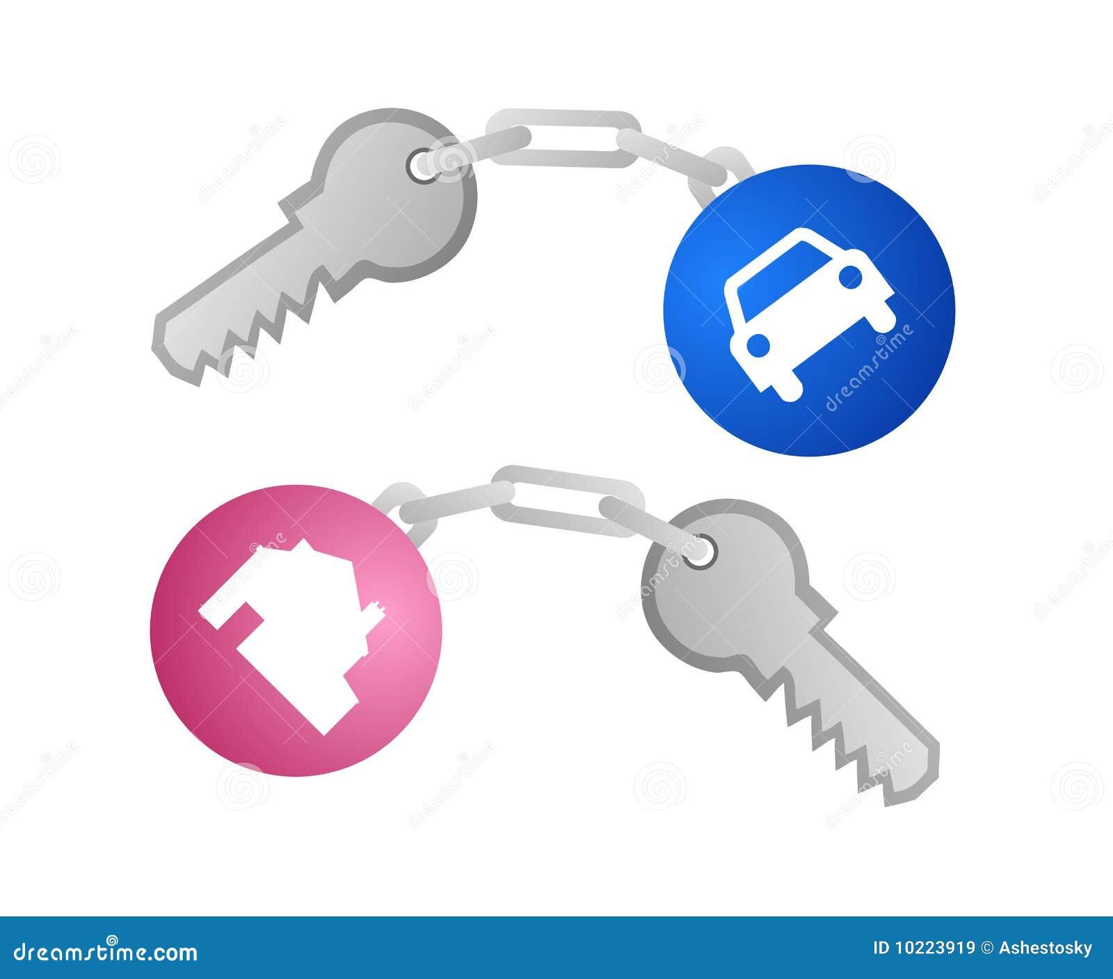 Clés pour le véhicule et le vecteur à la maison