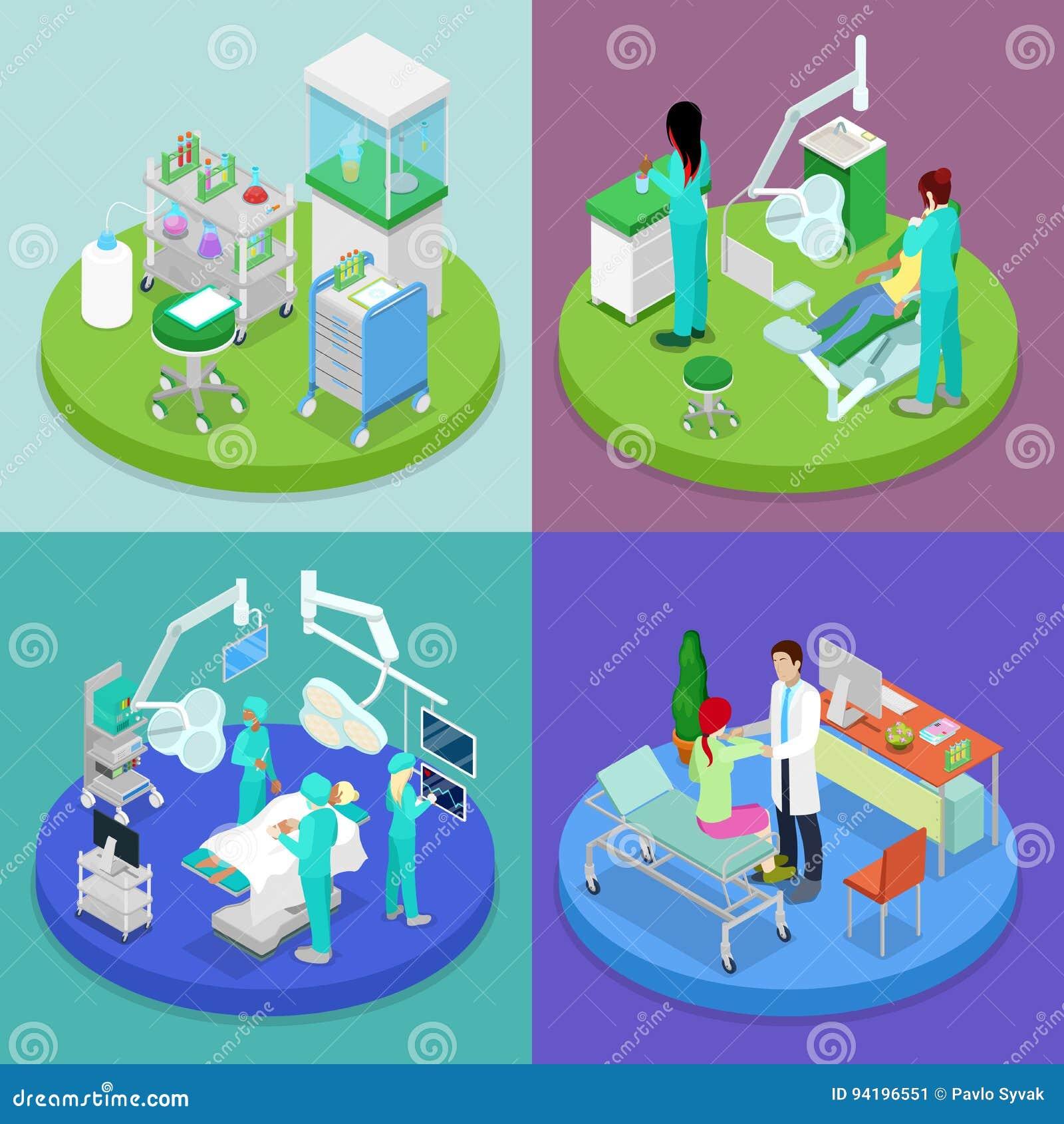 Clínica médica isométrica Concepto del cuidado médico Hospital, dentista, sala de operaciones