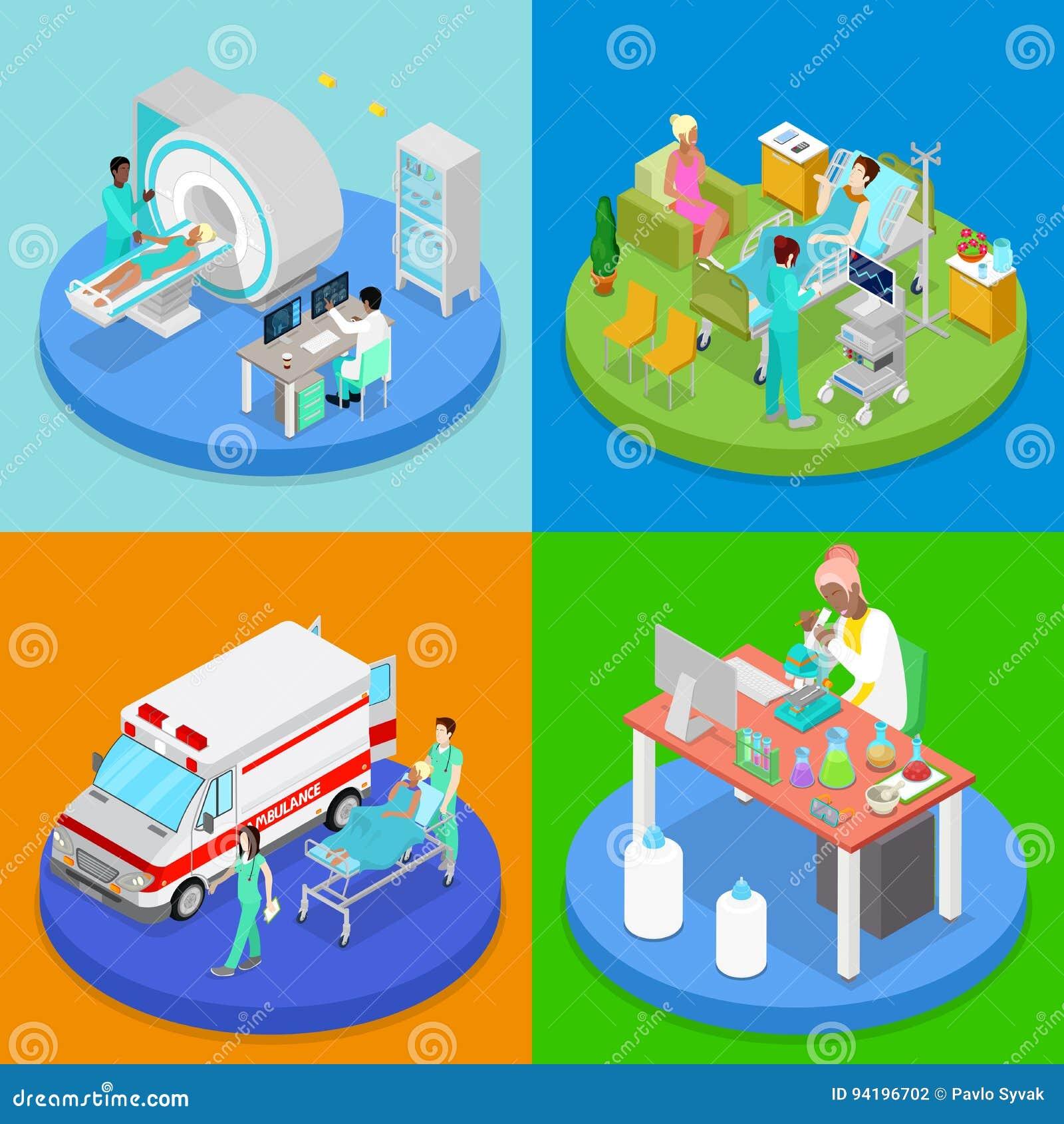Clínica médica isométrica Concepto del cuidado médico Sitio de hospital, servicio de emergencia de la ambulancia, MRI