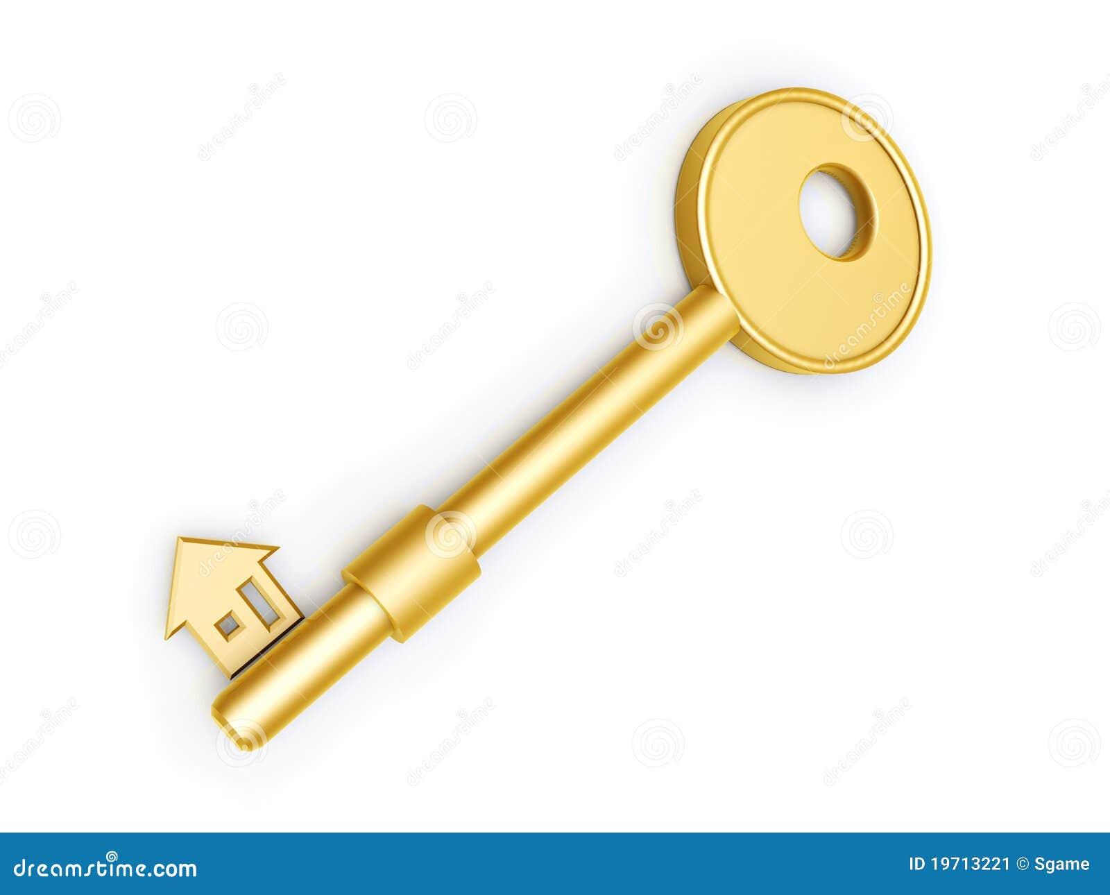 cl d 39 or avec le profil de maison image stock image
