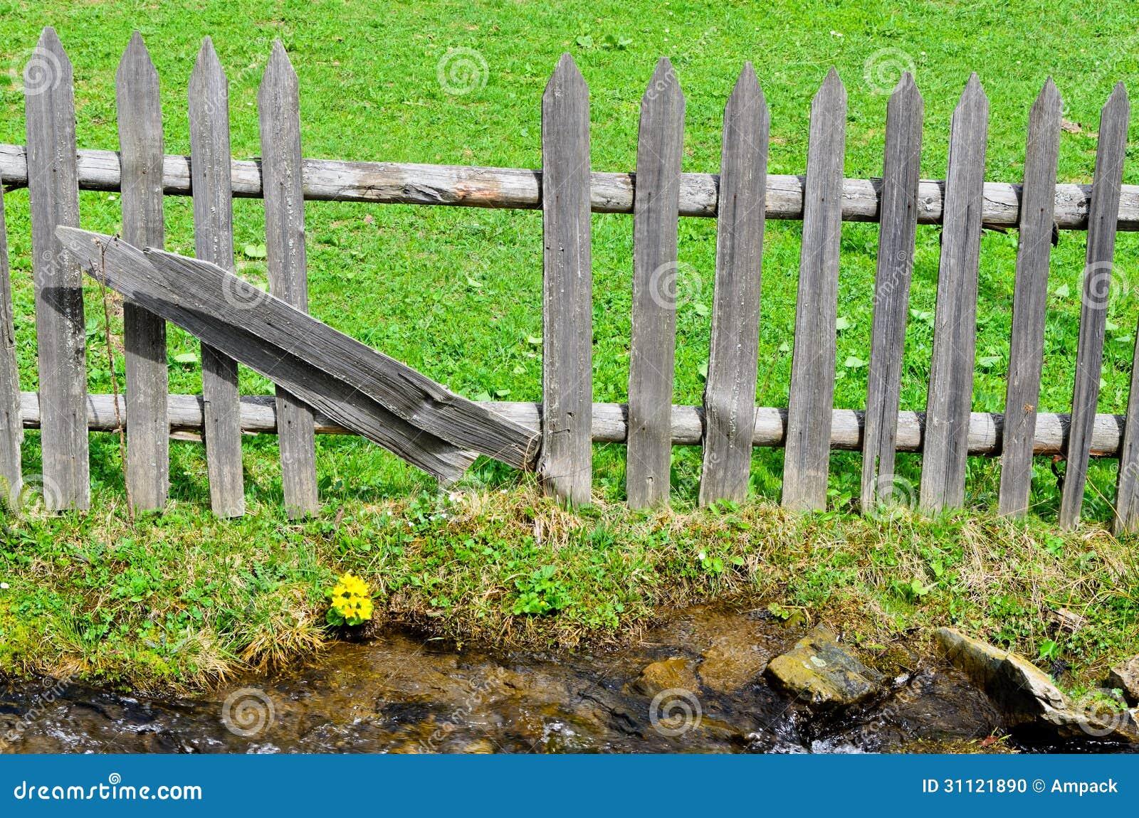 Cl ture en bois de palissade photo stock image 31121890 for Cloture palissade