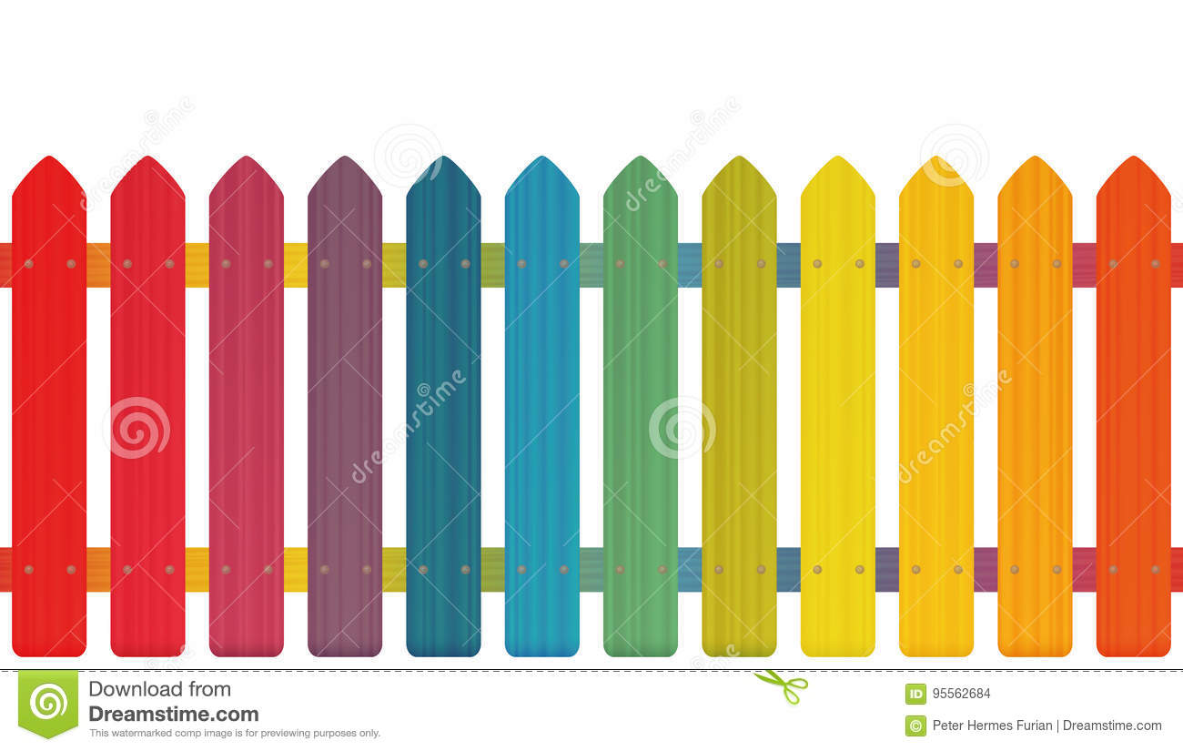 Cloture En Bois Blanc clôture rainbow colors illustration de vecteur. illustration
