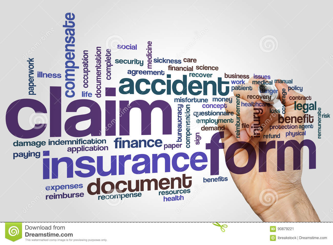 Download Claim Form Word Cloud Concept On Grey Background Stock Image    Image Of Accident,