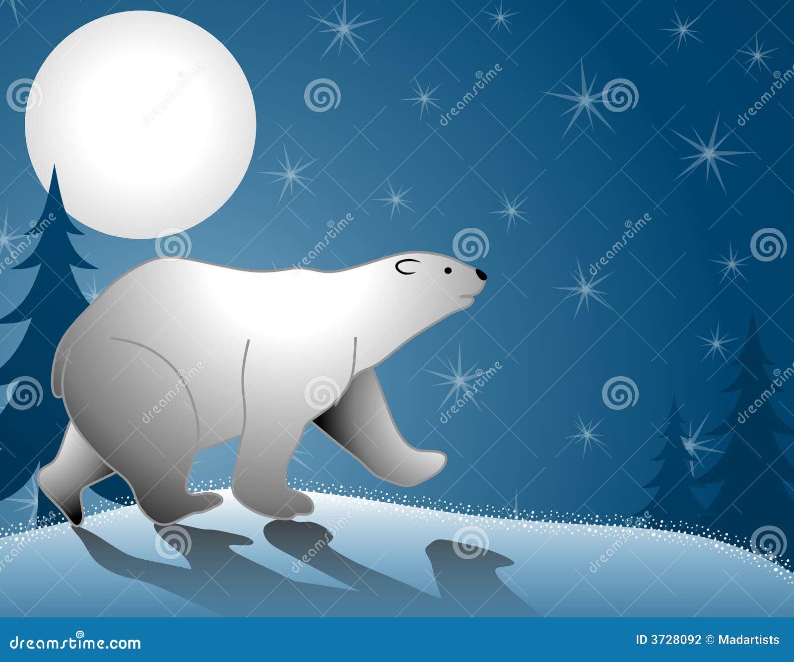 Clair De Lune De Marche D Ours Blanc Illustration Stock