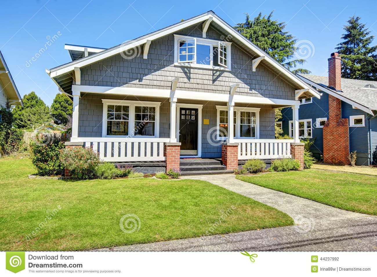 Clapboard Siding House Exterior Large Entance Porch With Brick Stock Photo Image 44237992