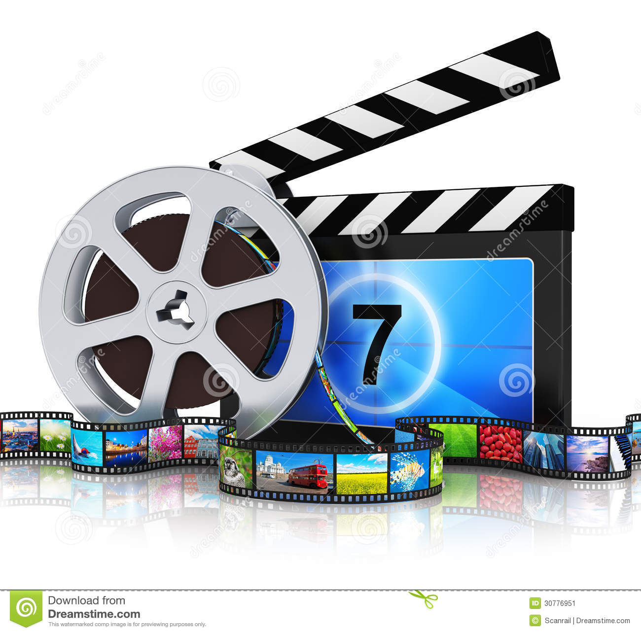 Media Industry: Clapper Board, Film Reel And Filmstrip Stock Image