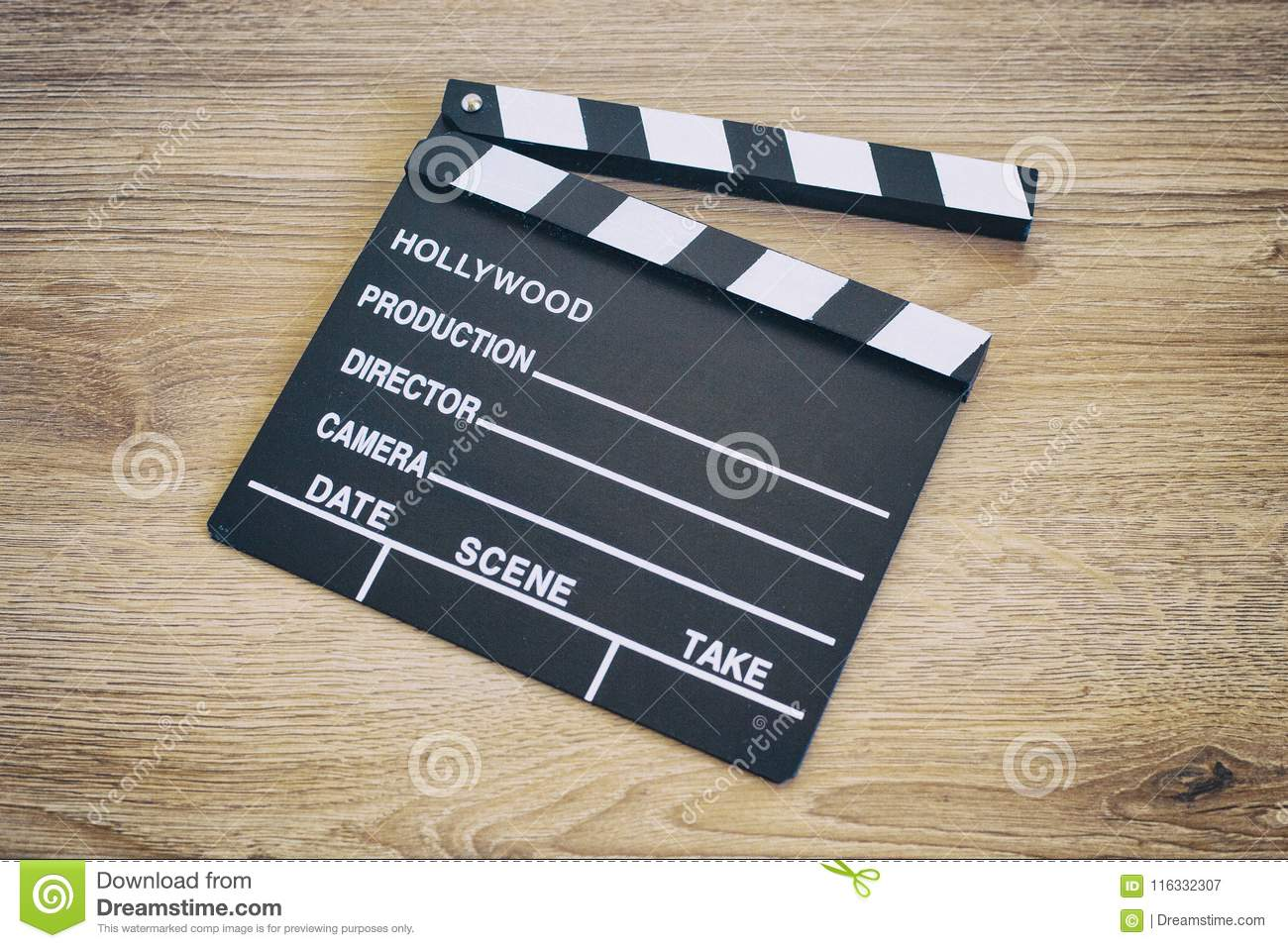 Clapper Board,Movie Clapper On Wood Stock Image - Image of blue, clap:  116332307