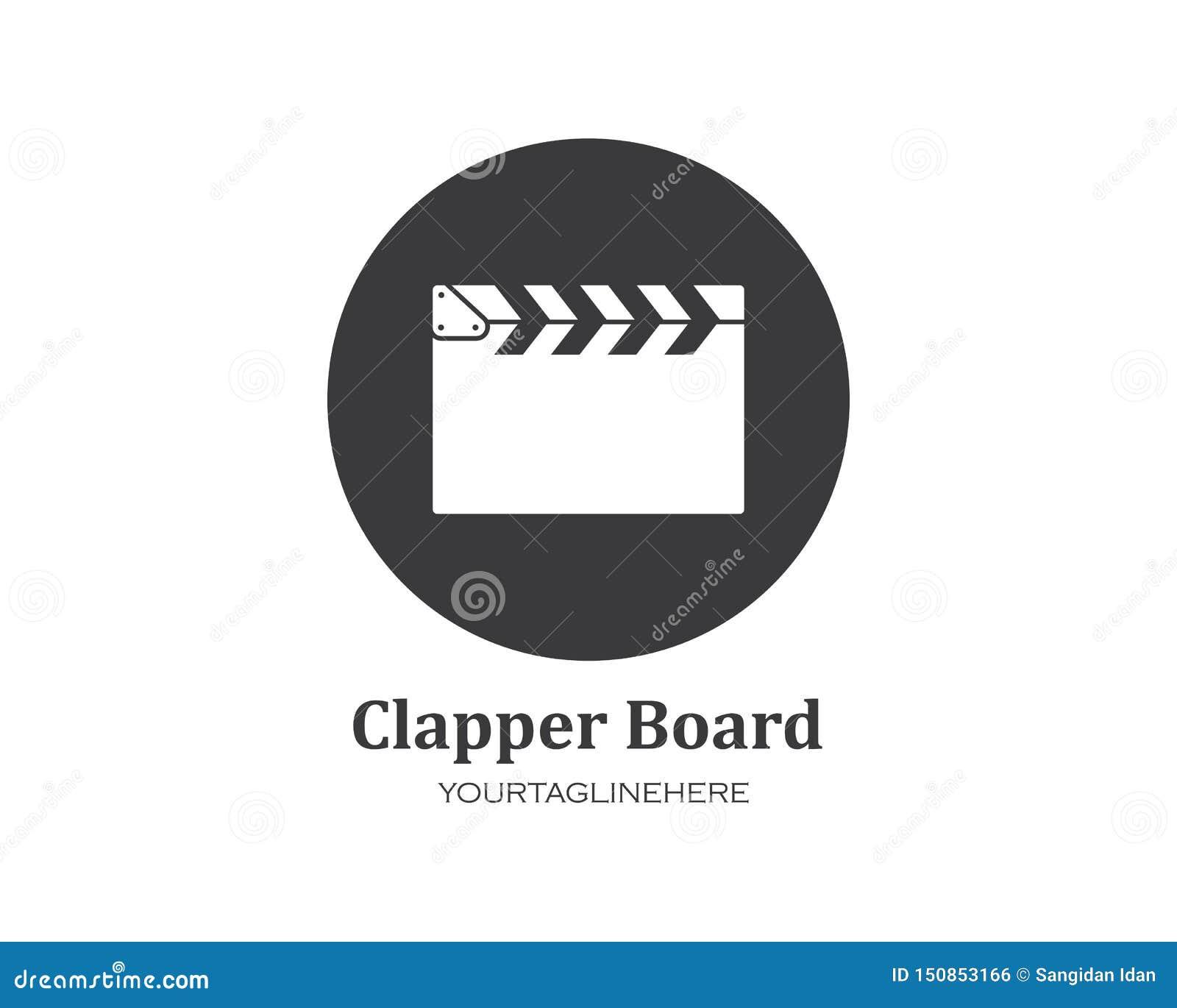 Clapperboard filmpictogram van de industriefilm en van het filmfestival vectorillustratie
