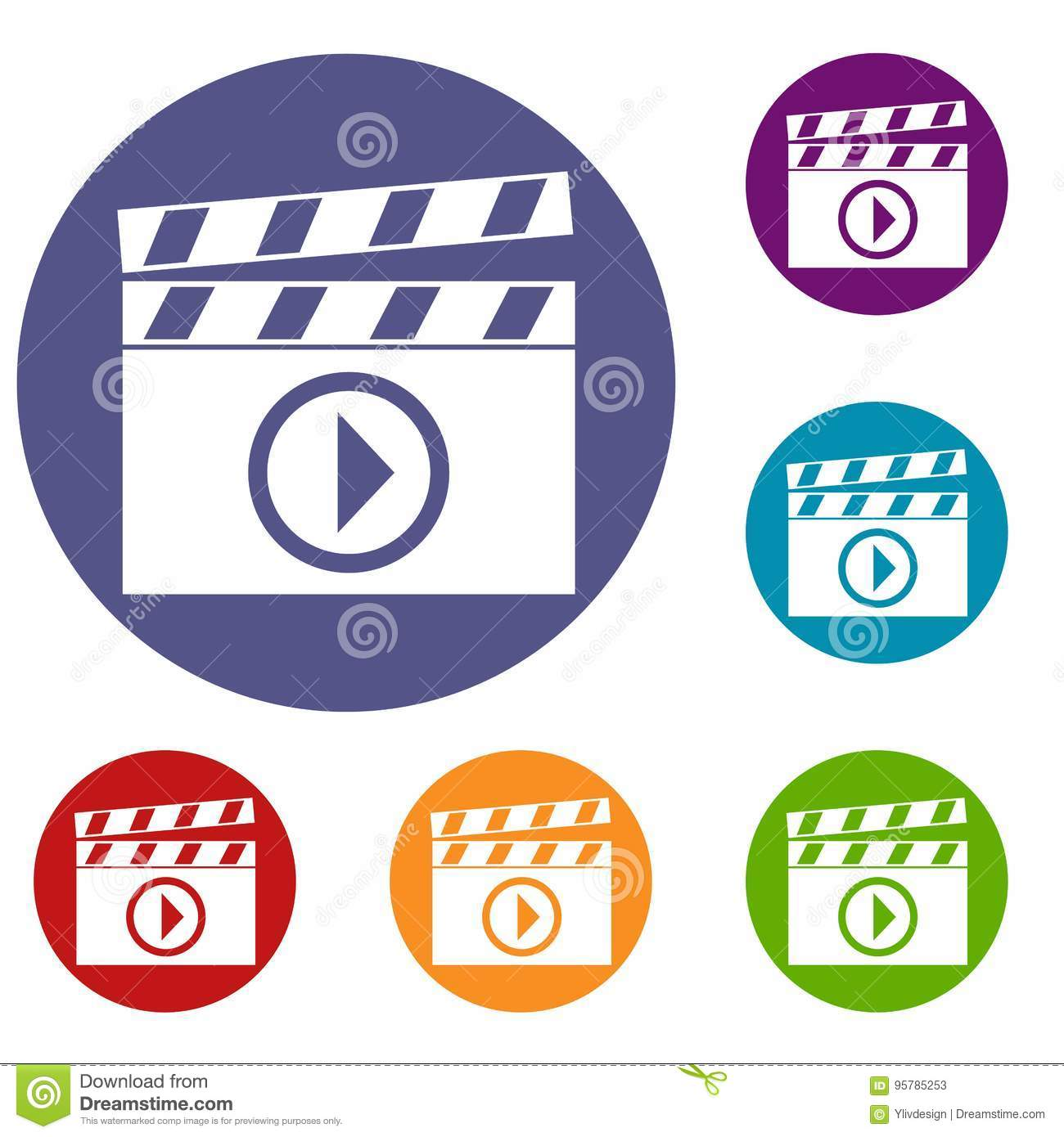 Clapperboard for movie shooting icons set stock vector image clapperboard for movie shooting icons set biocorpaavc