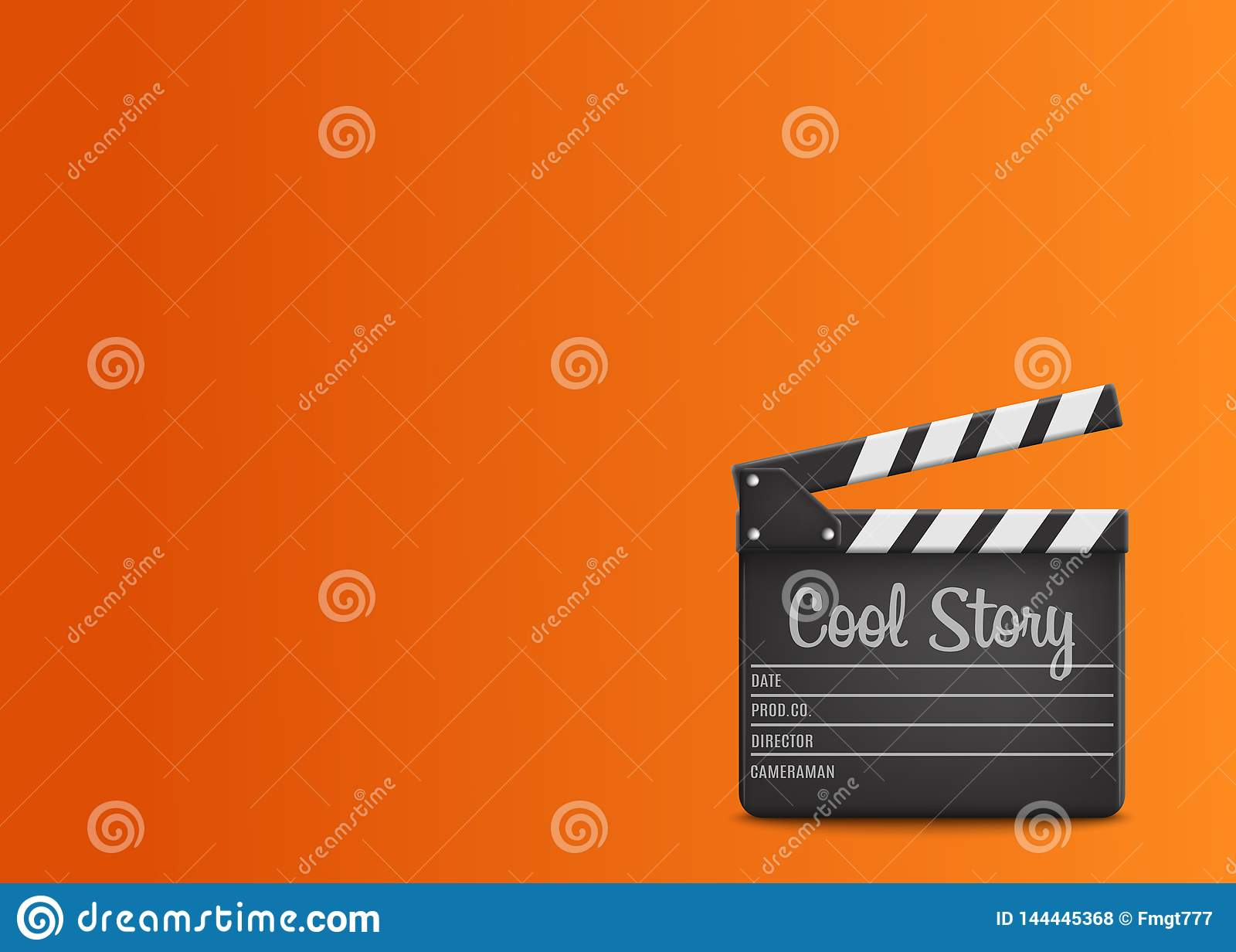 Clapperboard with text Cool Story on orange background.Vector
