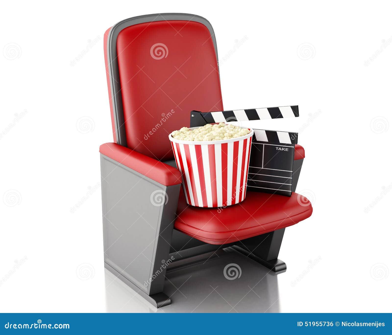 Clapperbräde och popcorn för bio 3d Vit bakgrund
