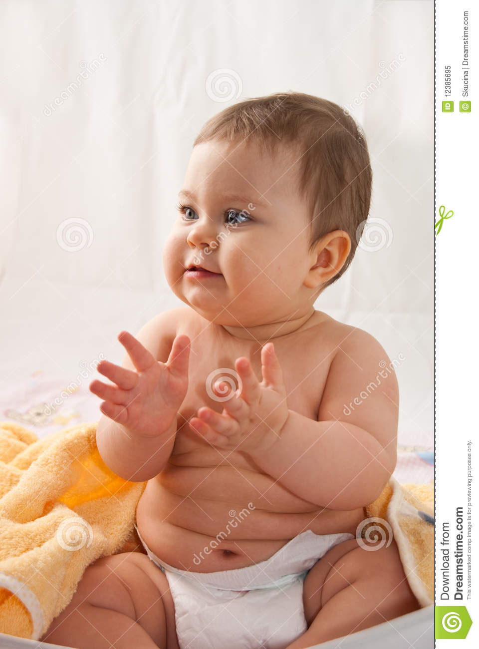 Clapping baby stock image. Image of bath, baby, toddler ...
